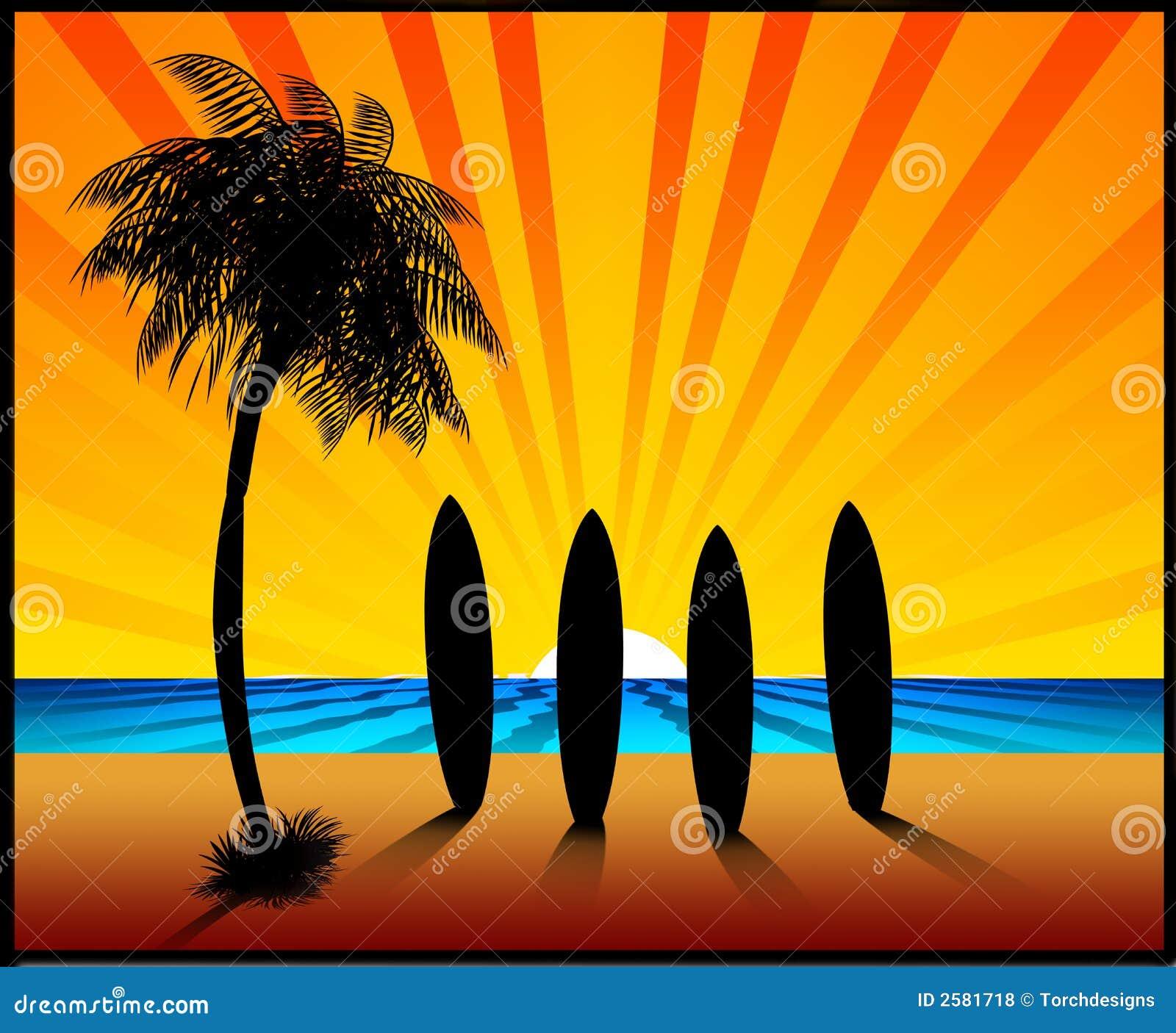 De surfplanken van de Zonsondergang