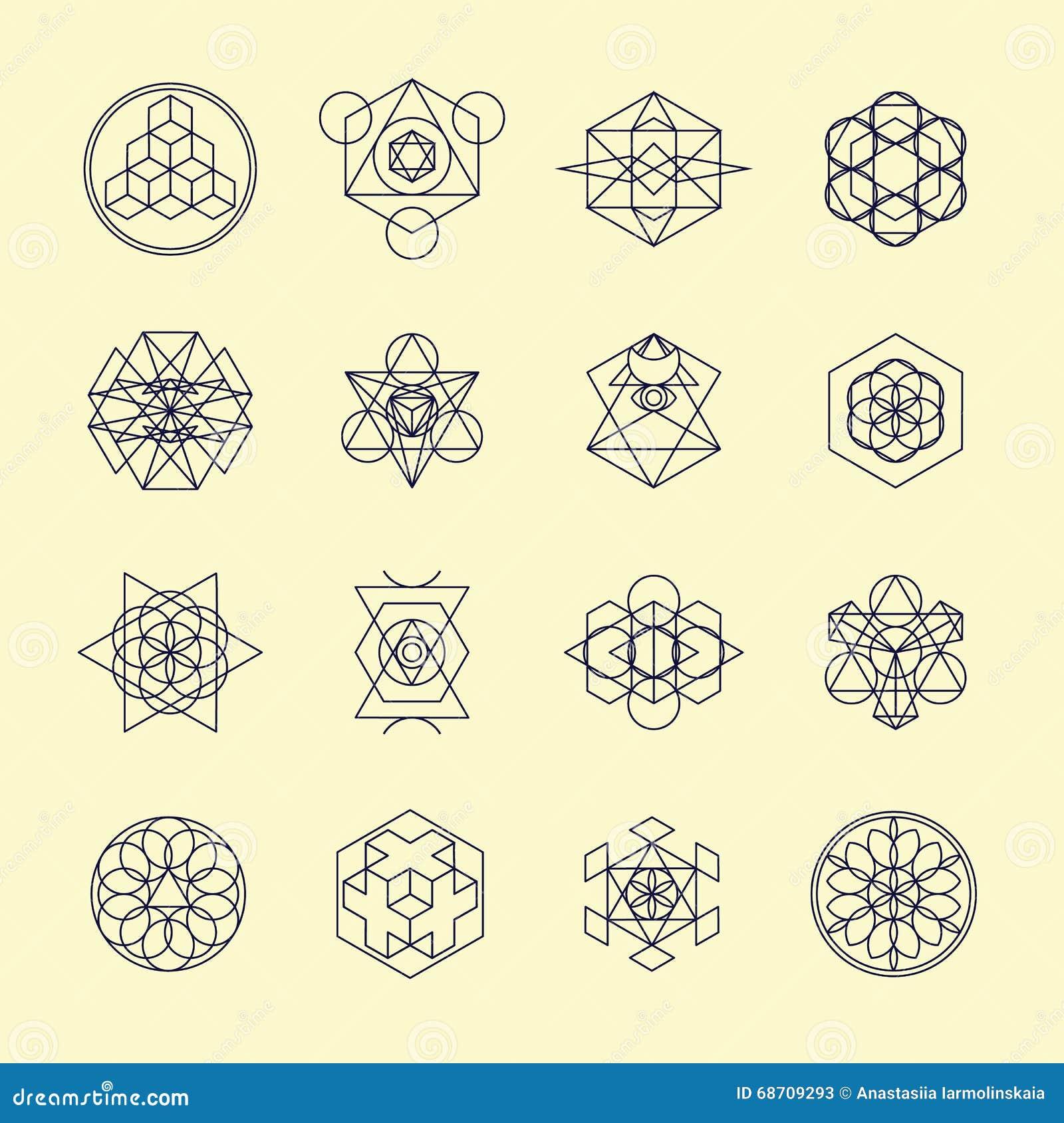 De symbolen en de elementen van het lijn geometrische ontwerp