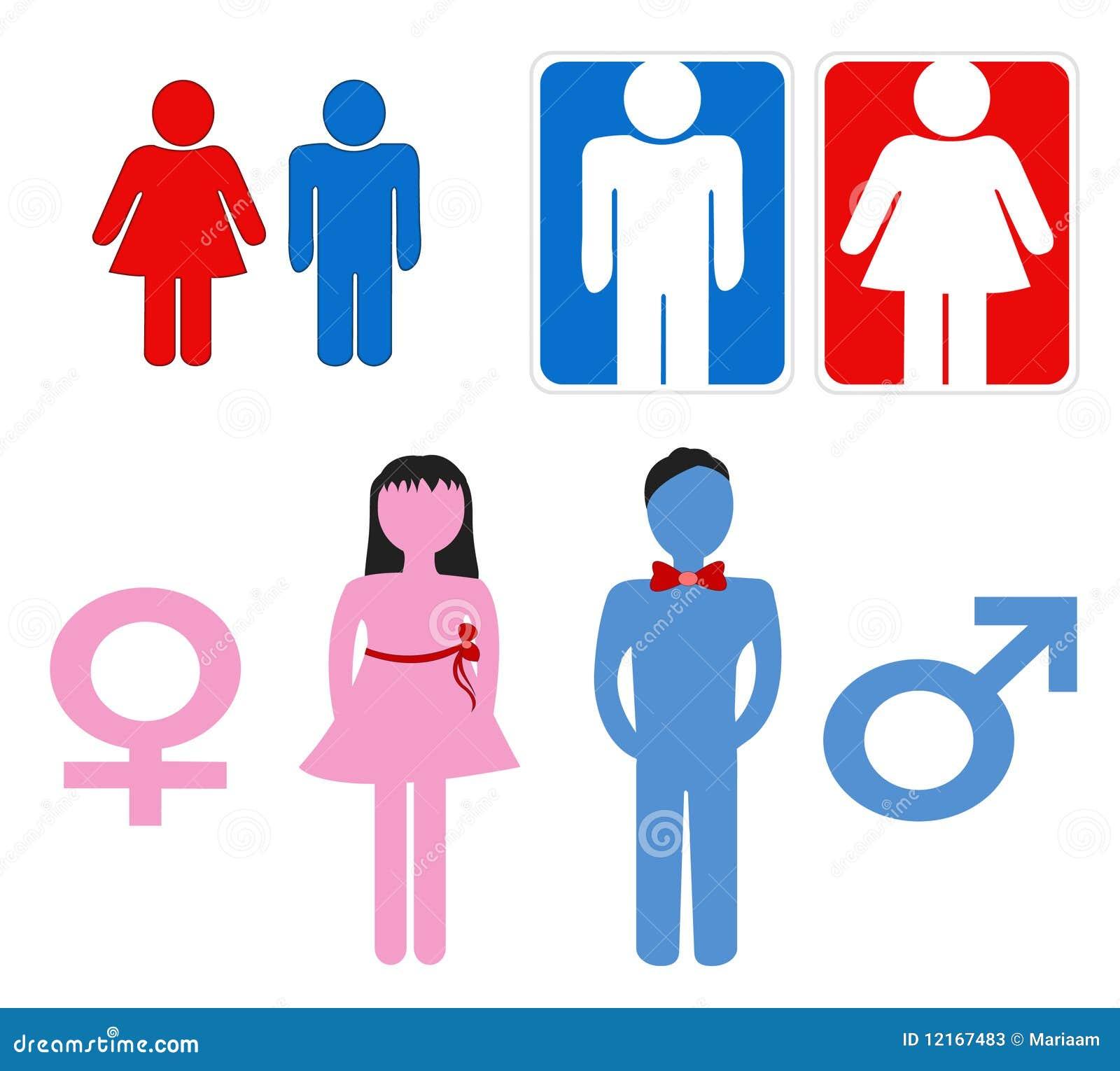 De symbolen van de man en van de vrouw