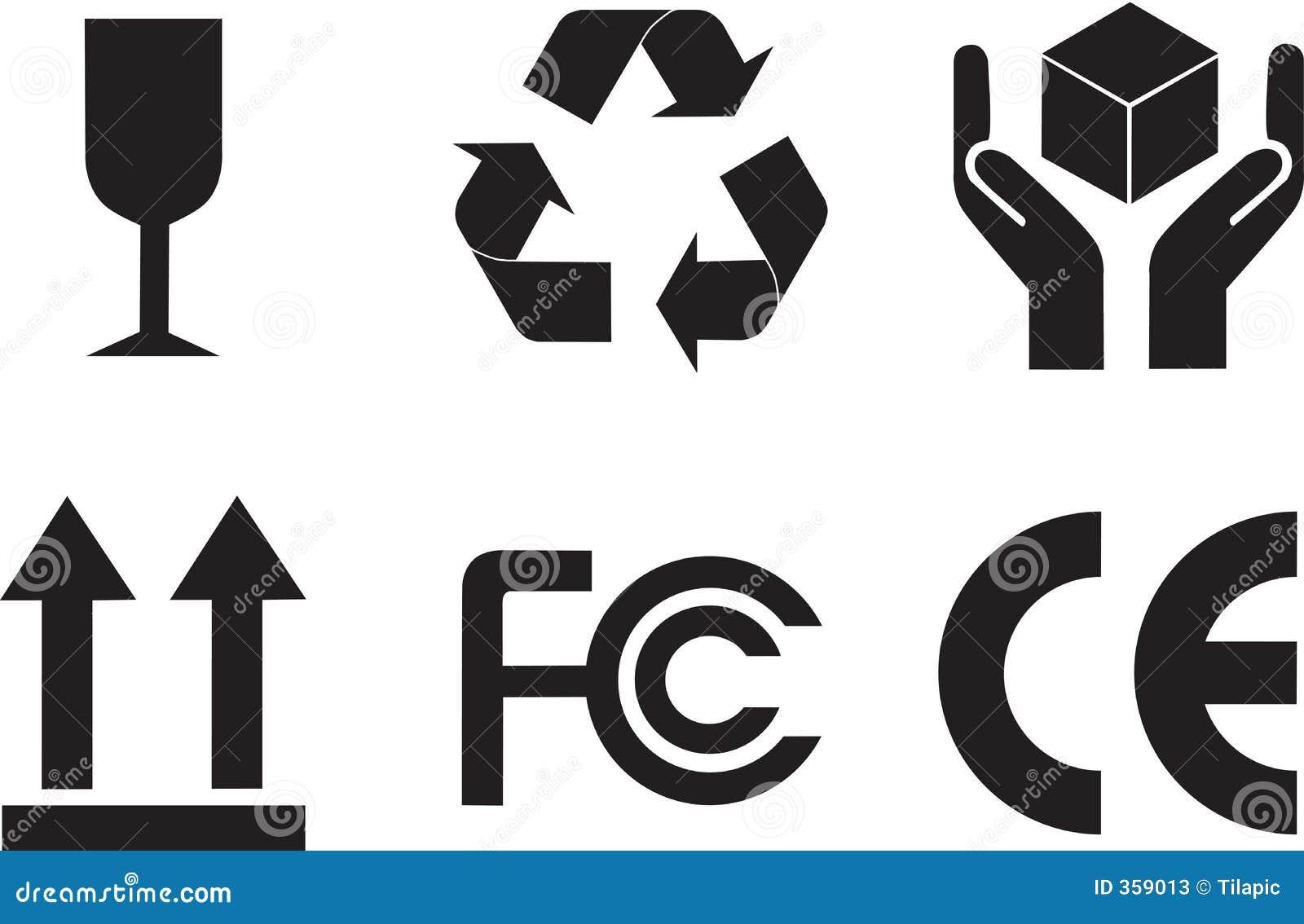 de symbolen van de verpakking vector illustratie