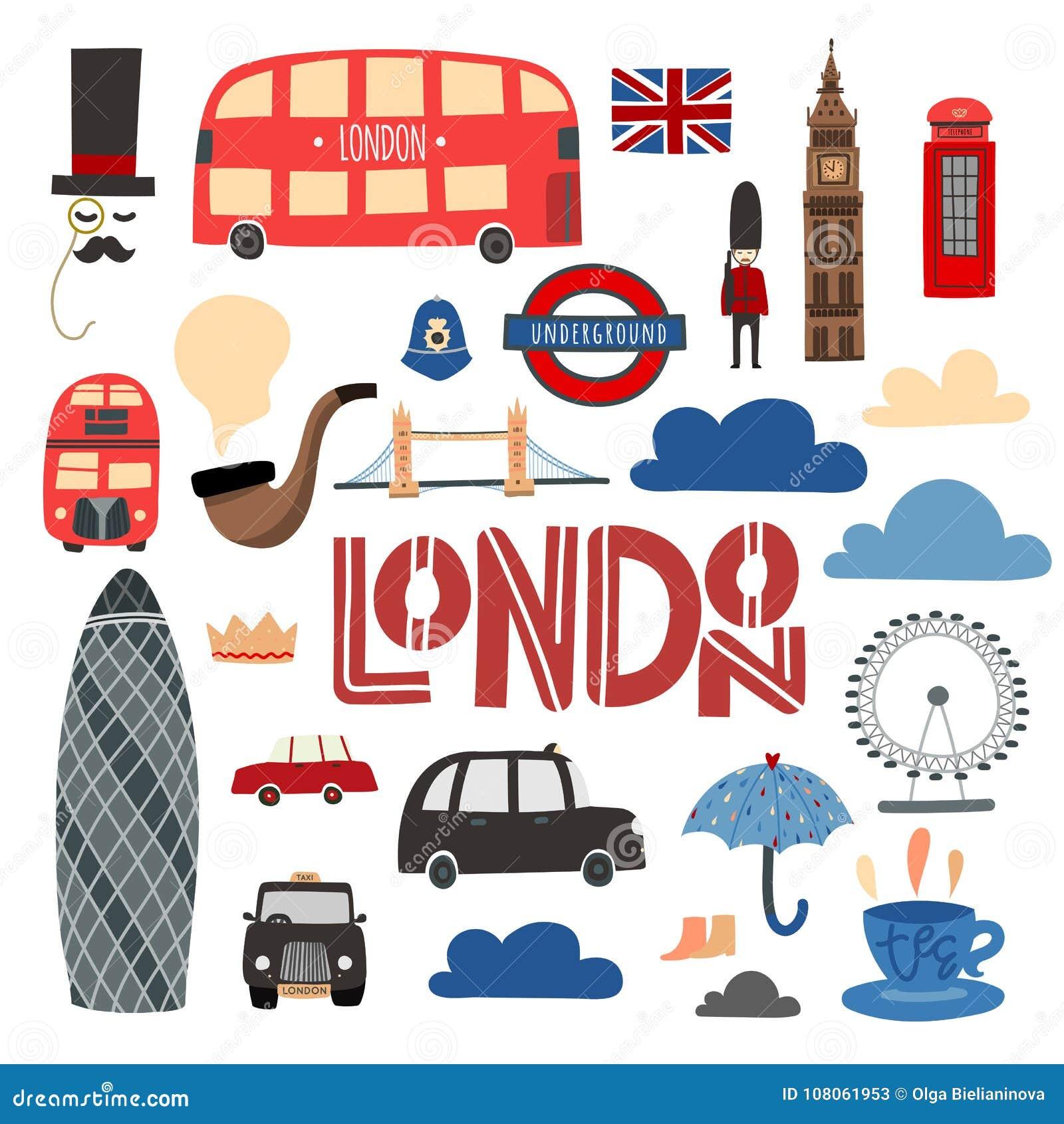 De symbolen van Londen overhandigen getrokken reeks Cabine, bus, Torenbrug, het oog enz. van Londen