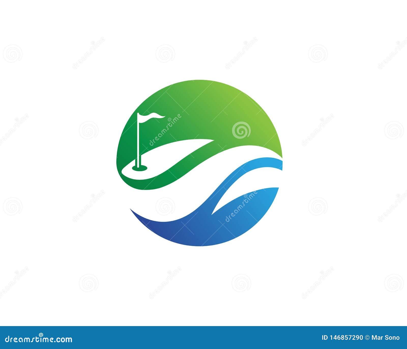 De symbolenelementen van golfclubpictogrammen en embleem vectorbeelden