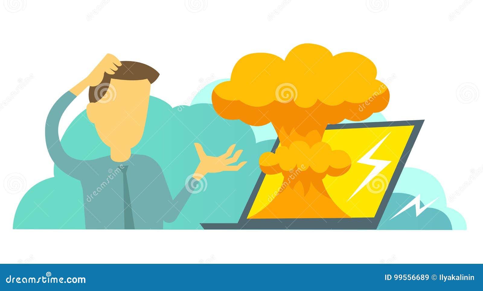 De systeemfout in laptop heldendicht ontbreekt Atoombomexplosie kern,
