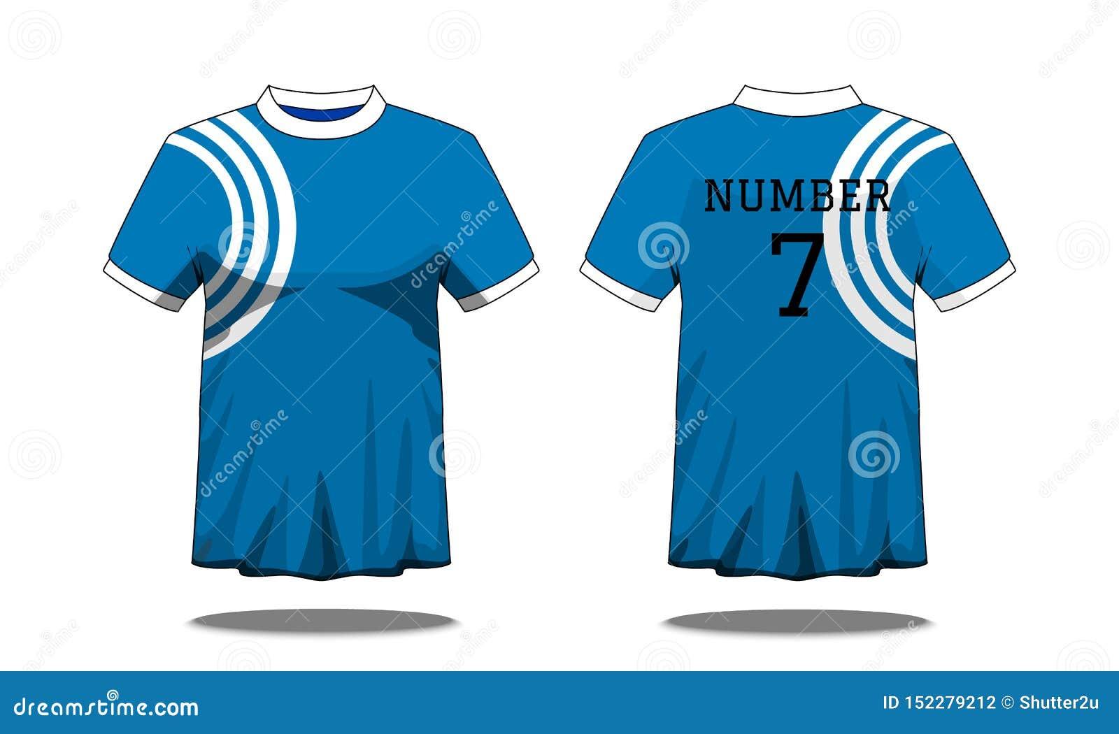 De t-shirt van sportmensen ` s met korte koker in voor en achtermening Blauw met witte streep en Editable-kleurenontwerp Spot omh