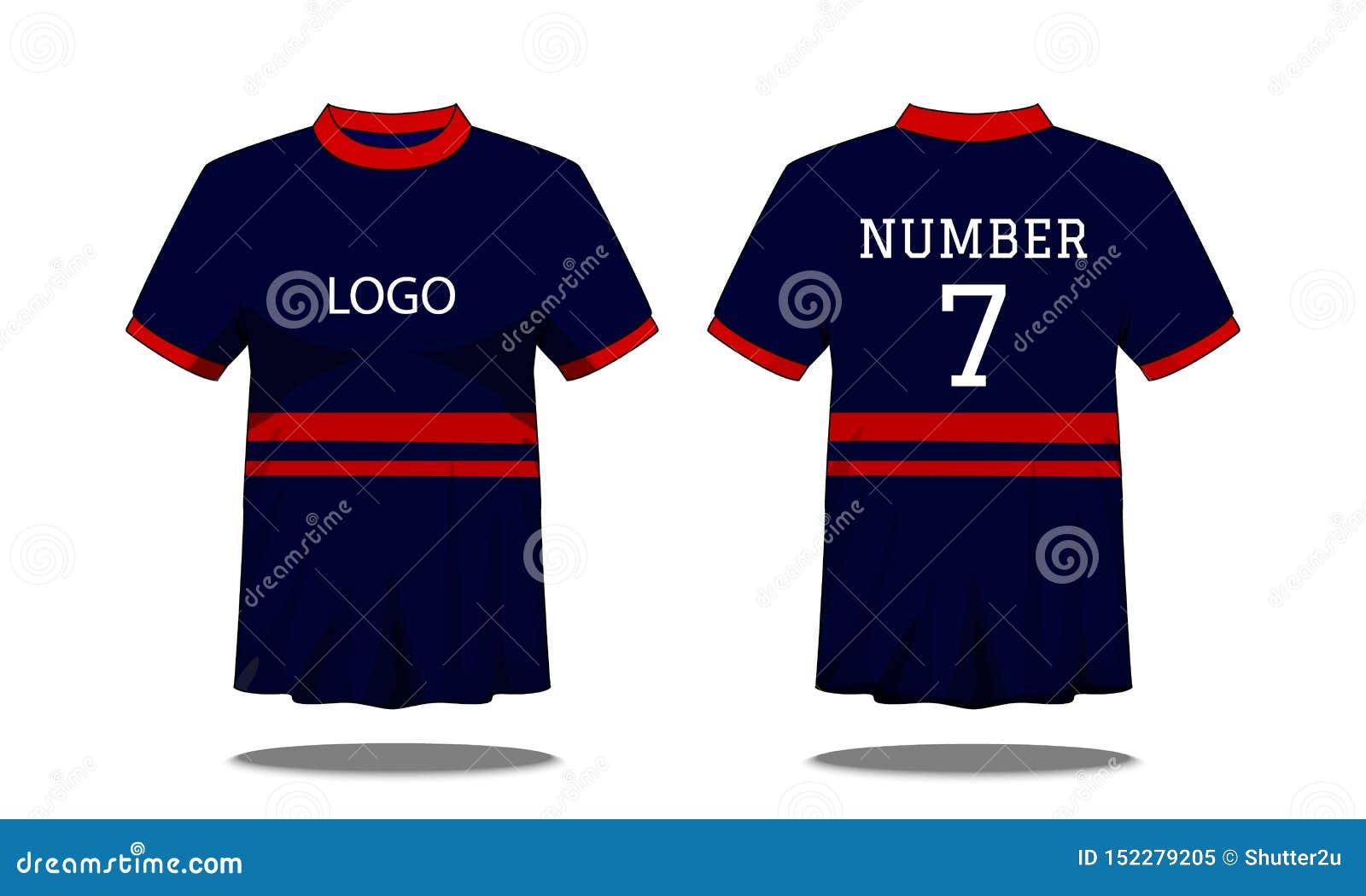 De t-shirt van sportmensen ` s met korte koker in voor en achtermening Donkerblauw met rode streep en Editable-kleurenontwerp Spo