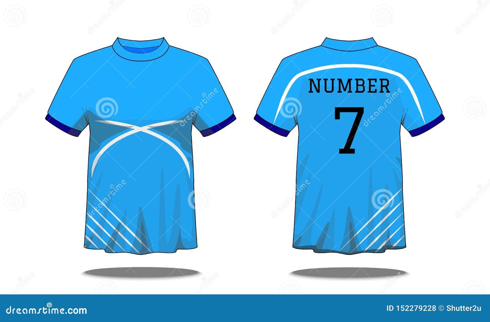 De t-shirt van sportmensen ` s met korte koker in voor en achtermeningen Blauw met witte strepen en Editable-kleurenontwerp Spot