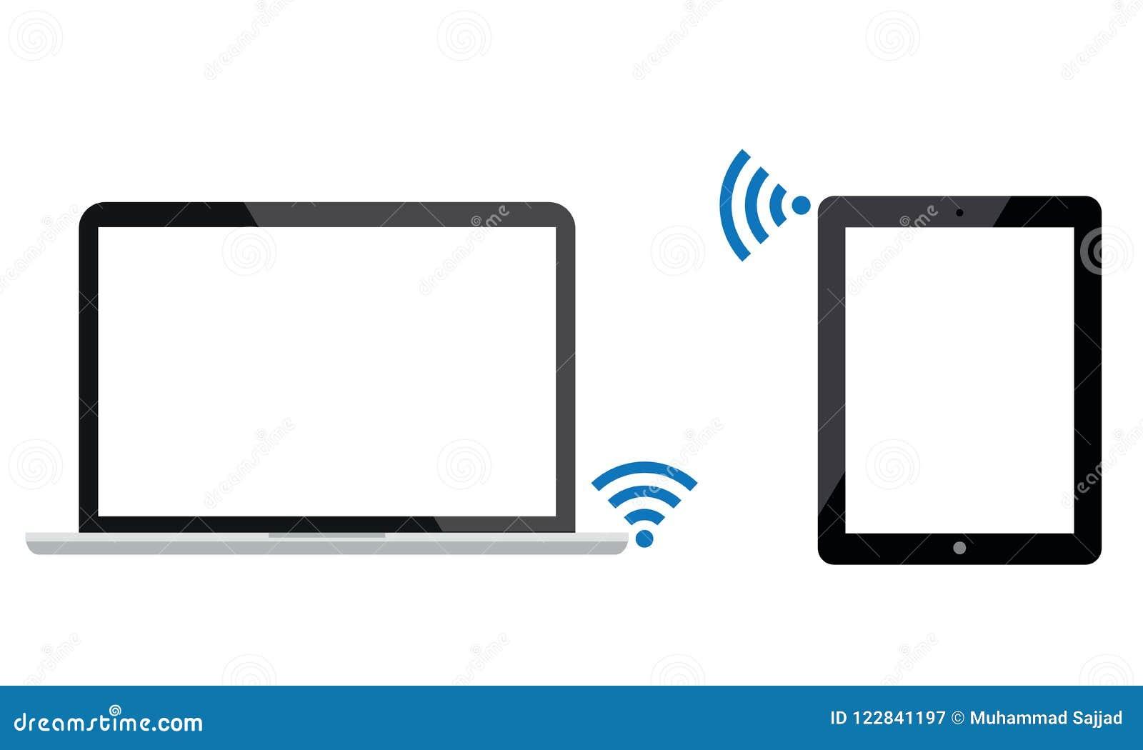 De Tablet van Android wordt Ipad verbonden aan Laptop door WiFi
