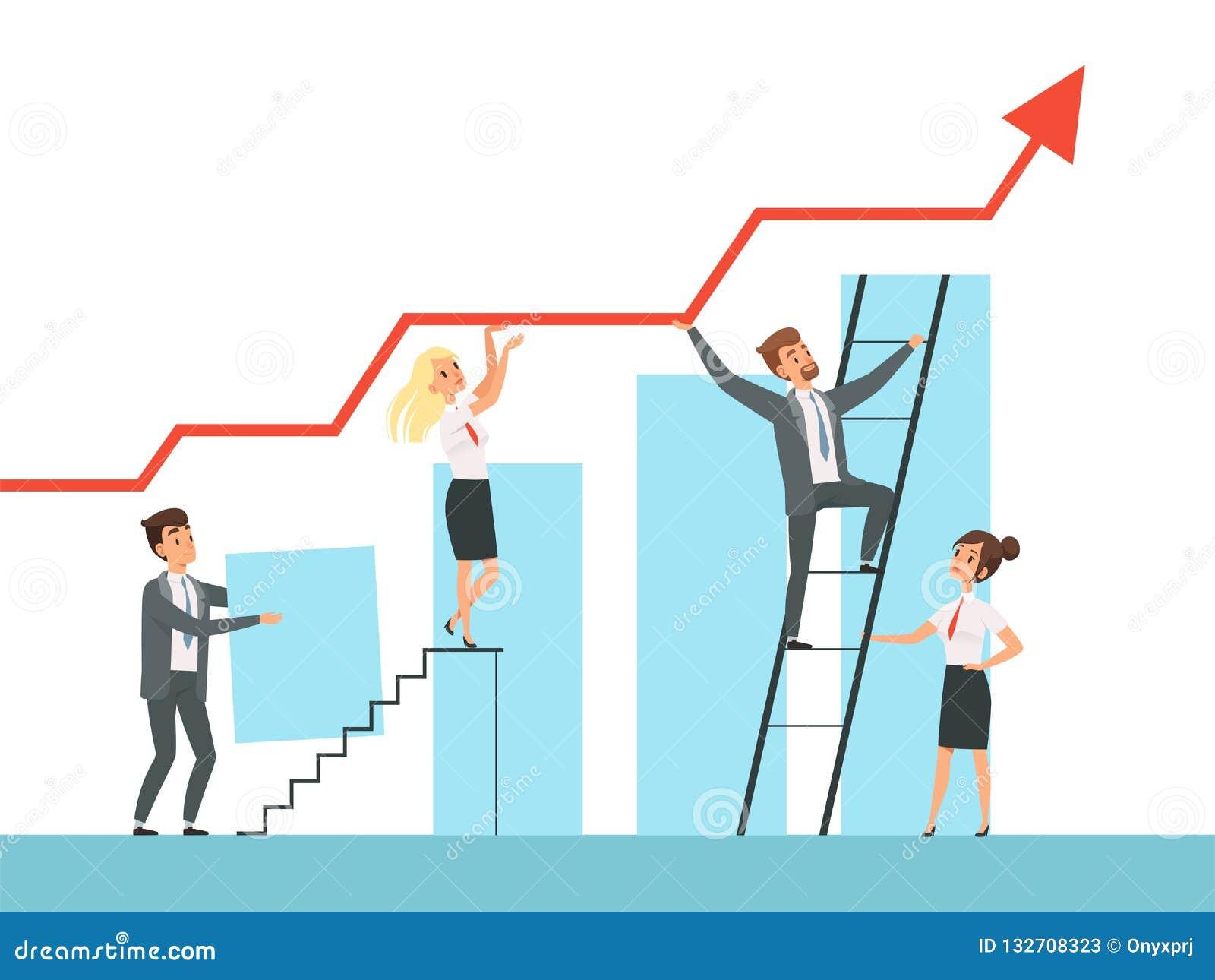 De teambouw De bedrijfsleidersgroei op treden aan hun vector het conceptenkarakters van de mentorleider