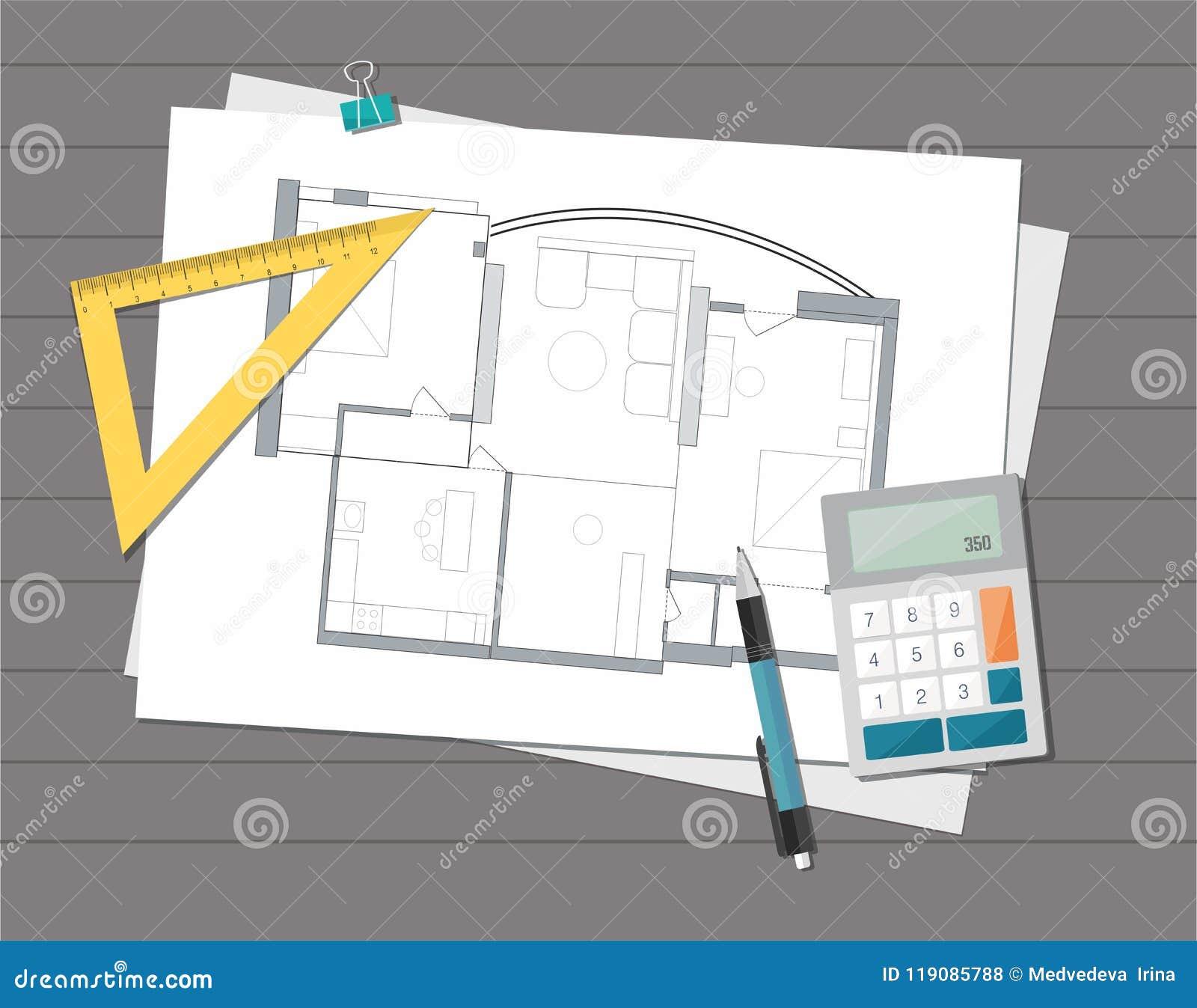 De technische blauwdruk van het het huisplan van de projectarchitect De achtergrond van de bouw