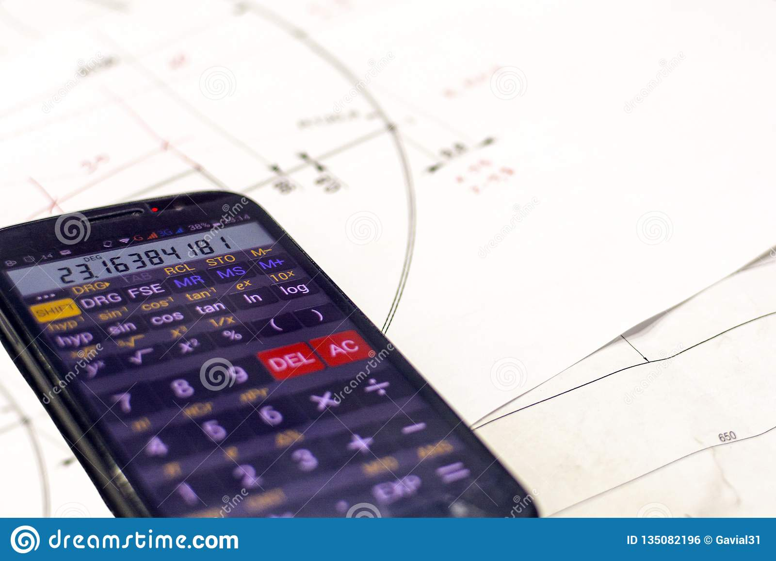 De tekening van de bedrijfsgegevensberekening