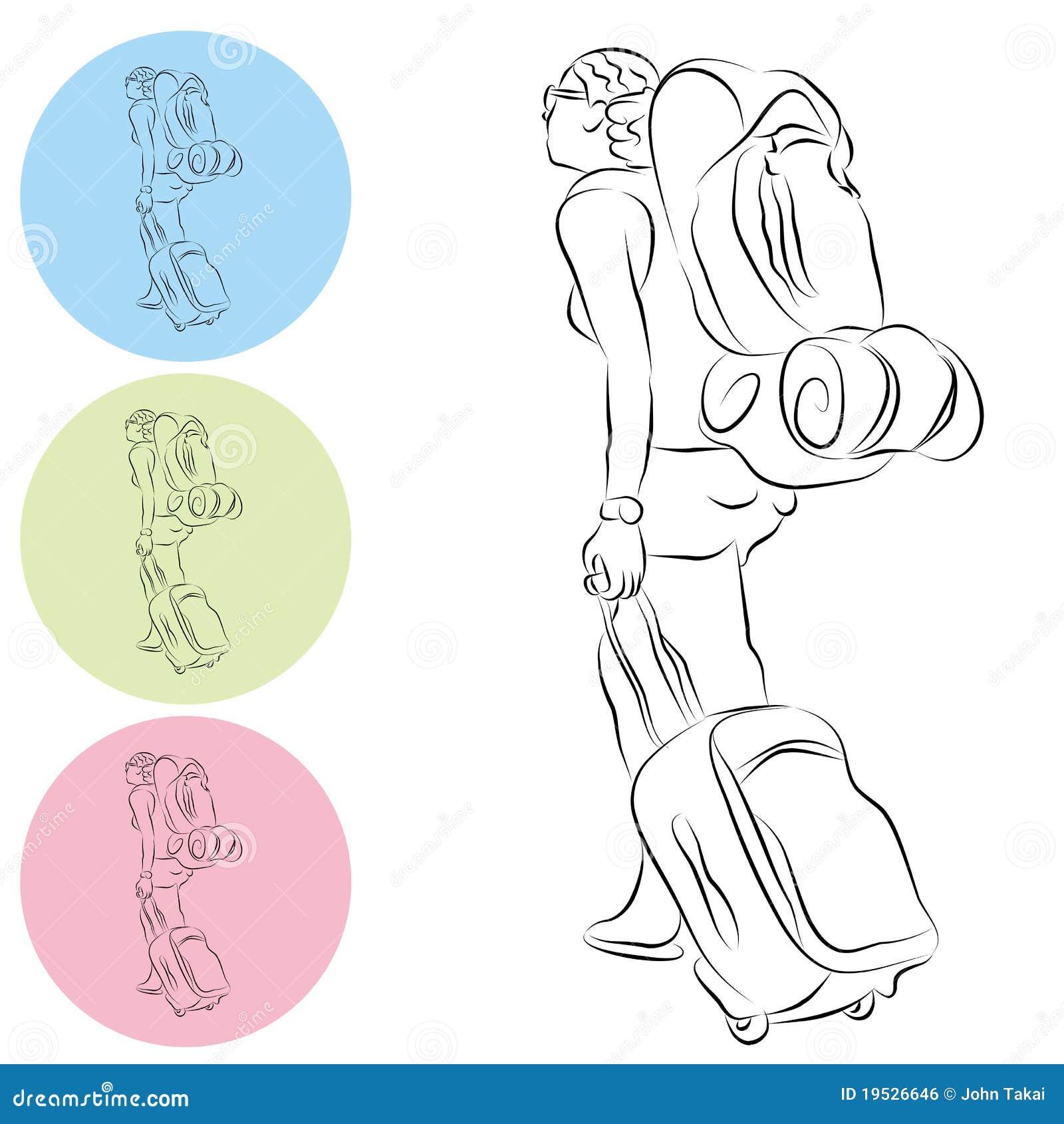 De tekening van de lijn van het meisje van de reis van de rugzak van de bagage royalty vrije - Beeld het meisje van ...