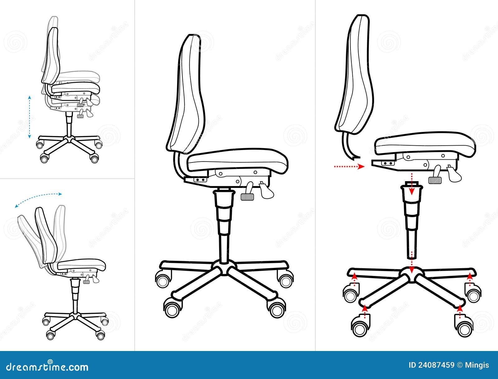 De Tekening Van De Stoel Van Het Bureau Vector Illustratie