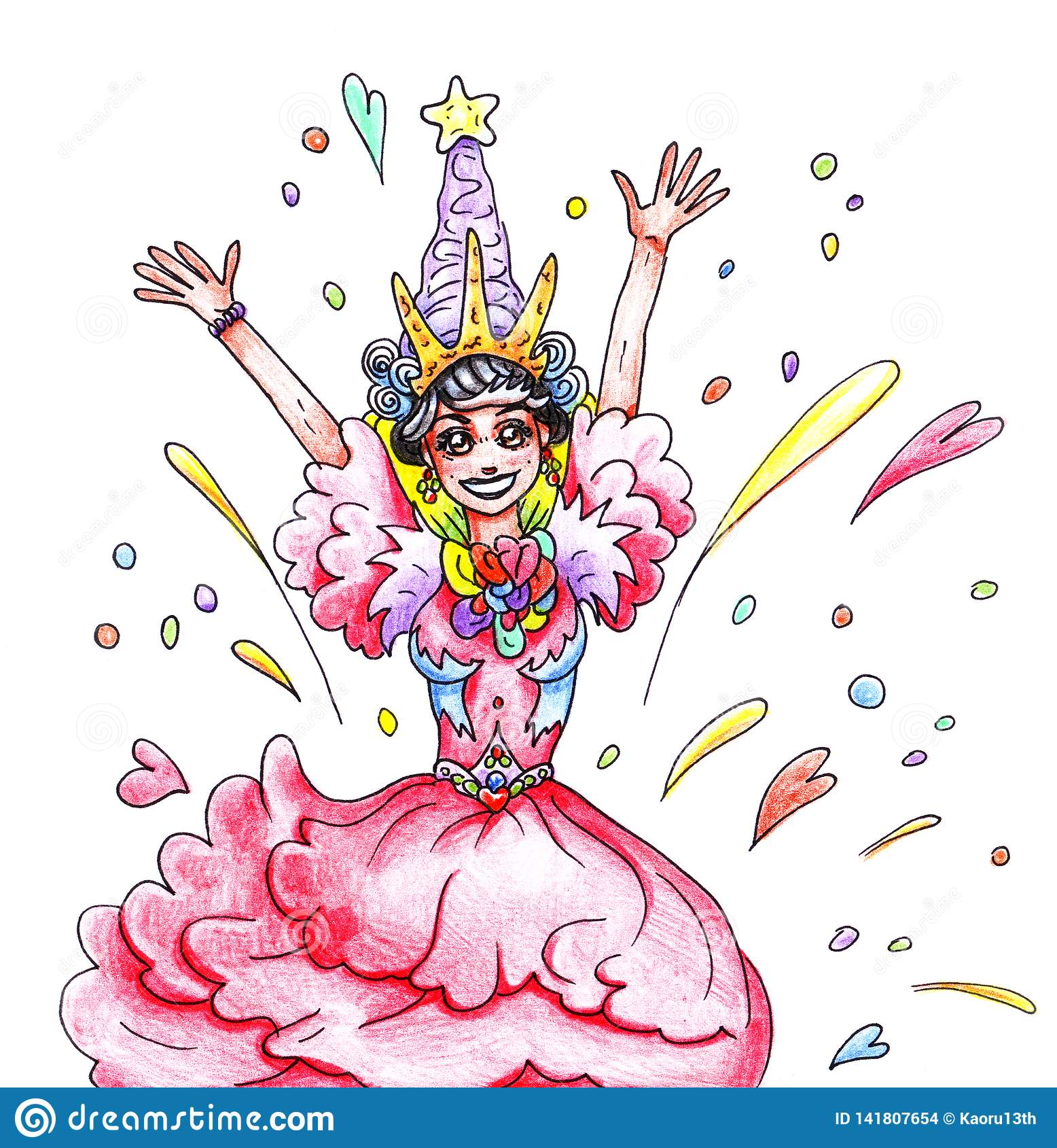 De tekening van een gelukkige blije kleur extatisch met een glimlach van het prinsesmeisje in een roze kleding en een kroon op de
