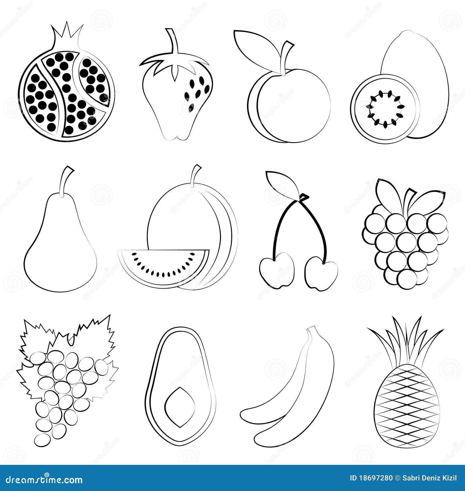Afbeeldingen Kleurplaten Bloemen De Tekening Van Het Fruit Vector Illustratie Illustratie