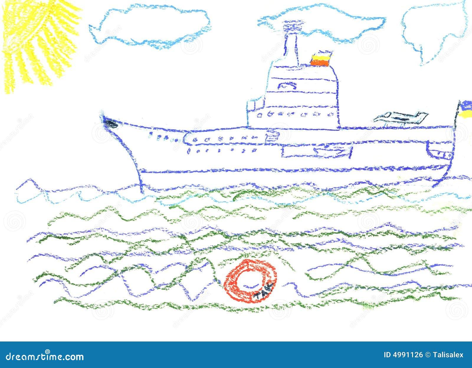 De tekening van het kind met groot slagschip