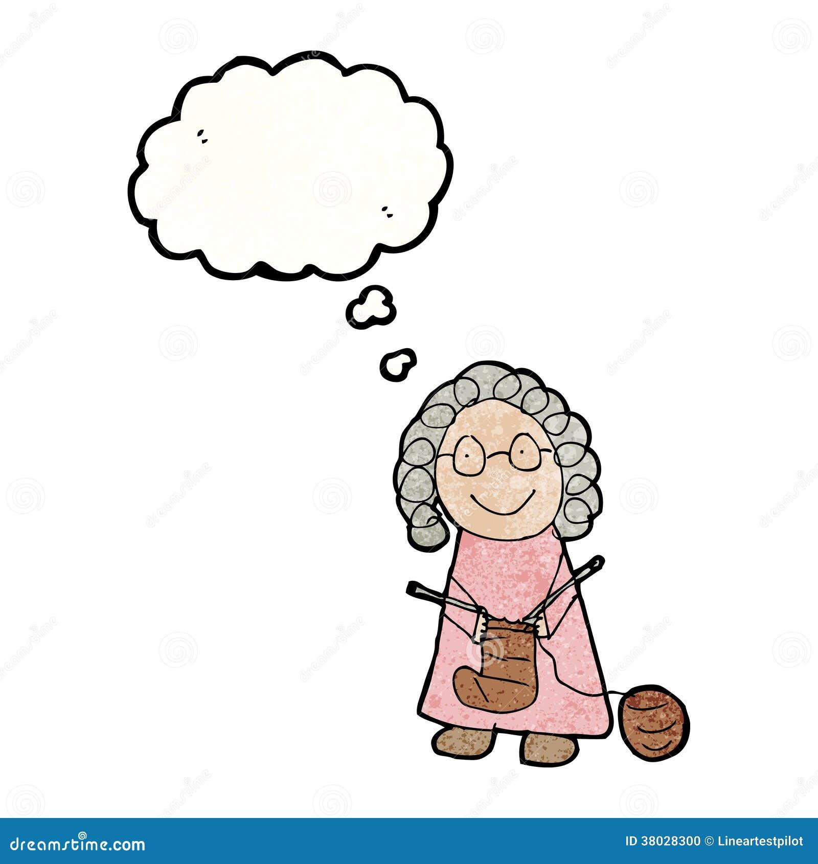 De tekening van het kind van het oude vrouw breien vector illustratie afbeelding 38028300 - Kind oud ...