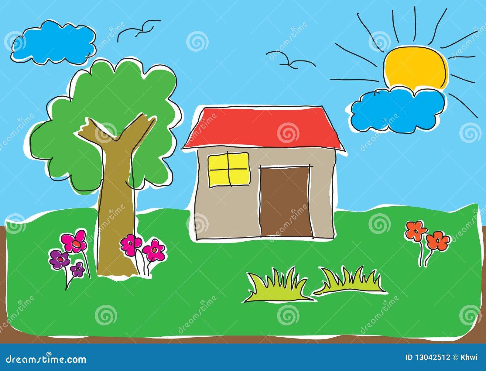 De tekening van het kind van huis vector illustratie afbeelding 13042512 for De ingang van het huis