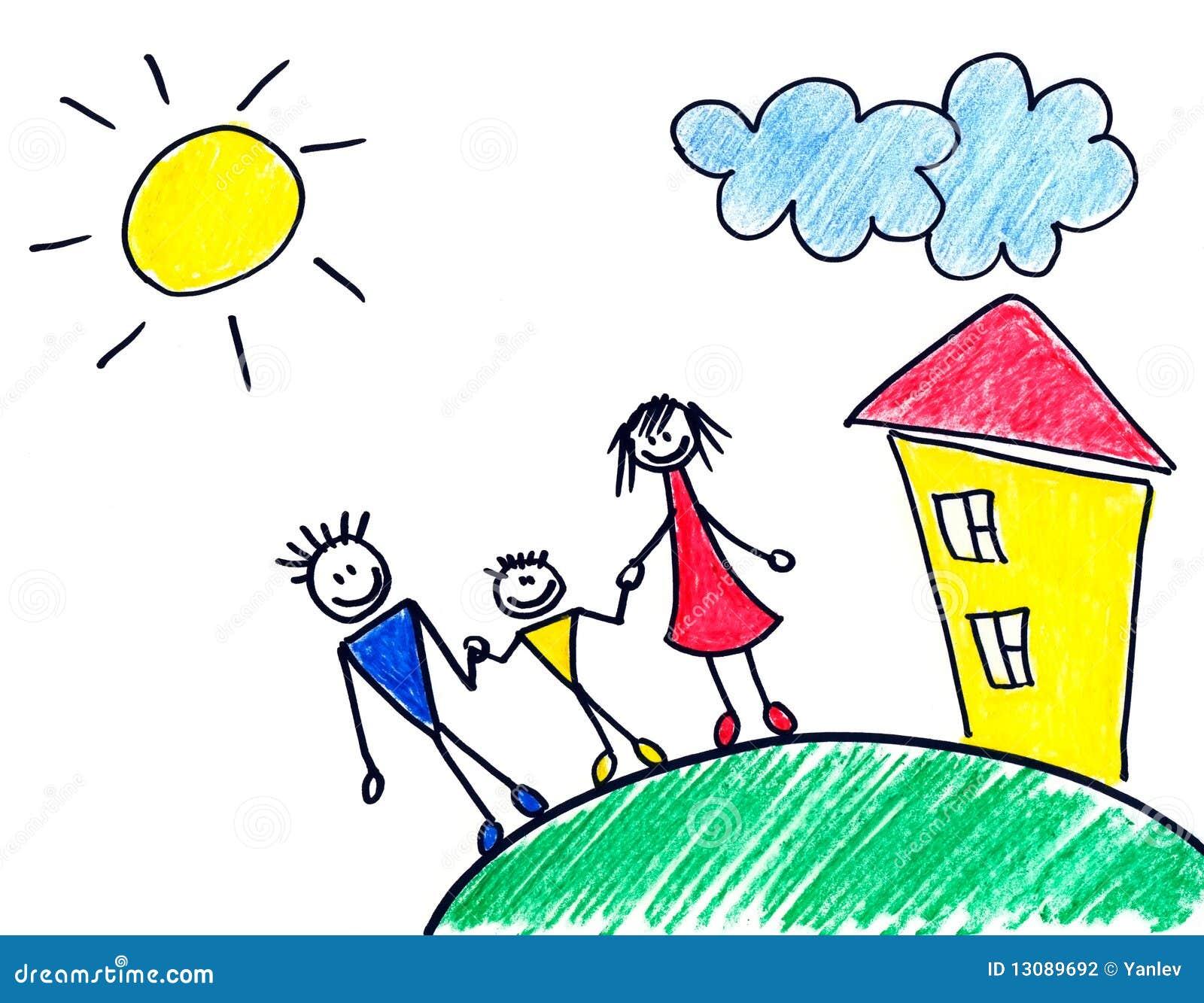 De tekening van kinderen van gelukkige familie over plattelandshuisje.