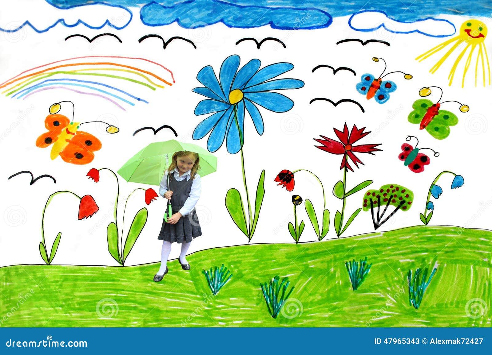 De Tekening Van Kinderen Met Vlinders En Meisje Stock Illustratie ...