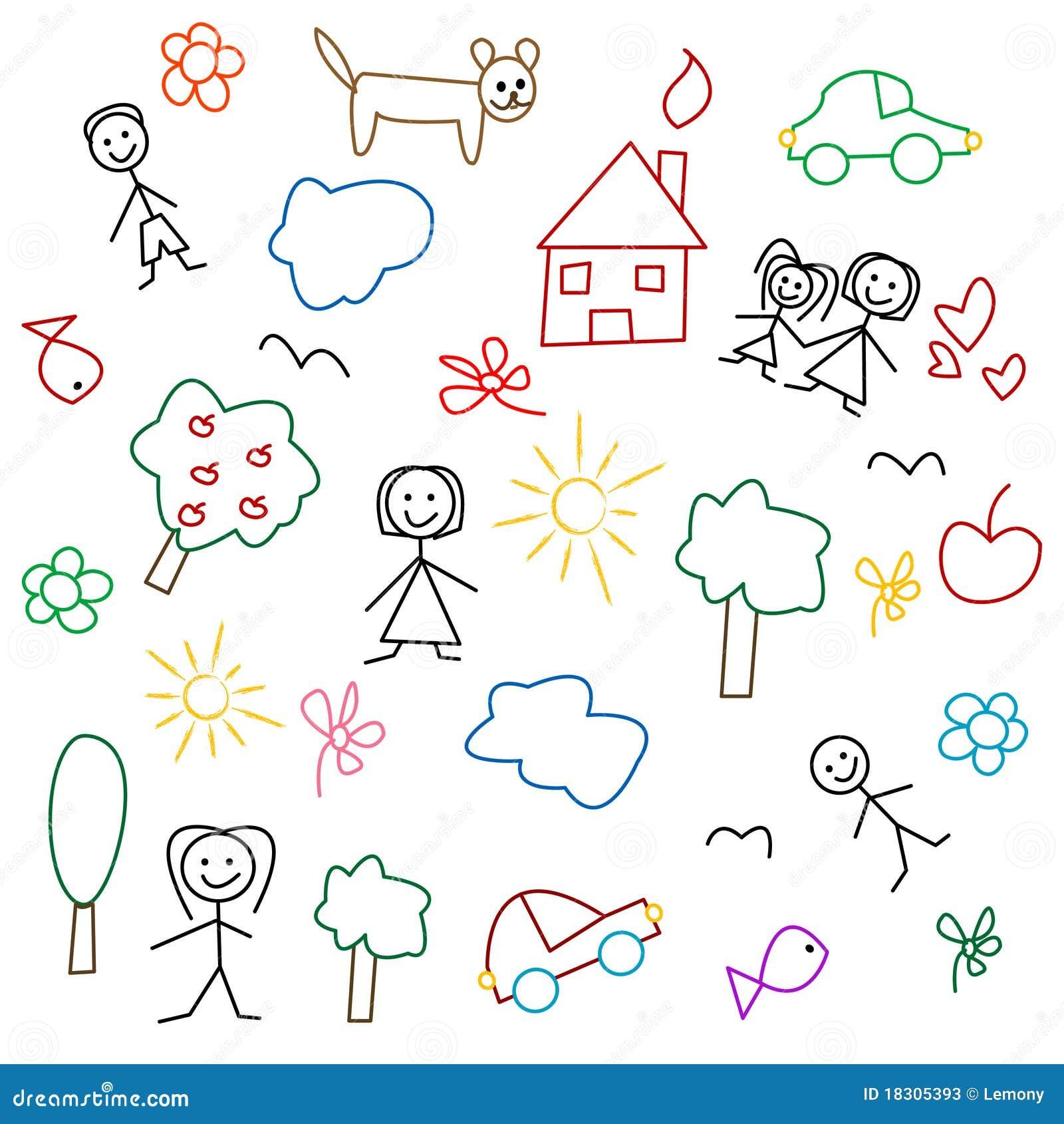 De Tekening Van Kinderen - Naadloos Patroon Stock Fotos - Afbeelding ...
