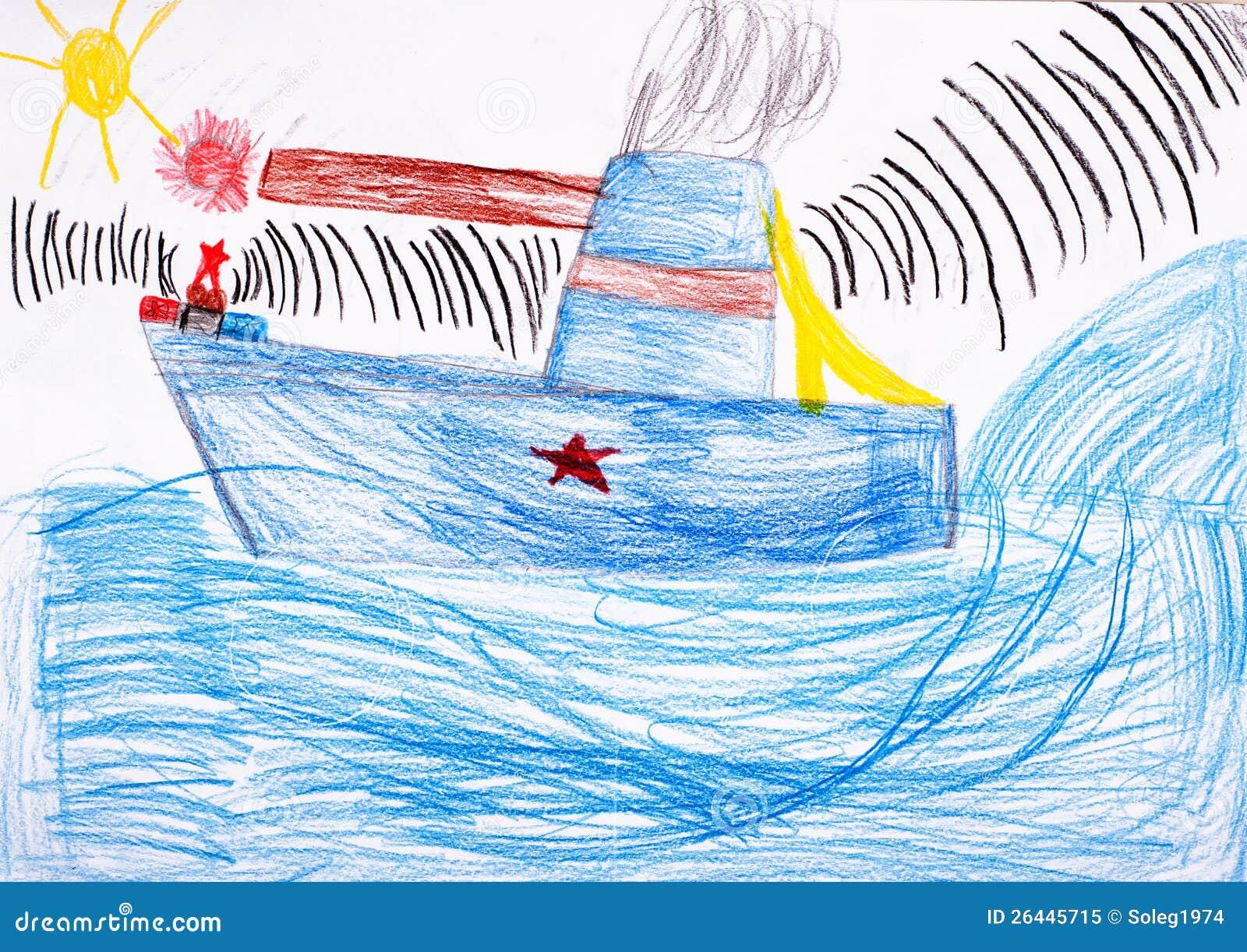 De tekening van kinderen. slagschip op zee