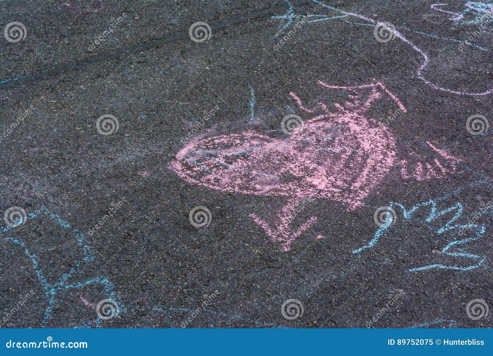 De Tekeningen Asphalt Concrete Outdoors Public Urban P van het kinderenkrijt