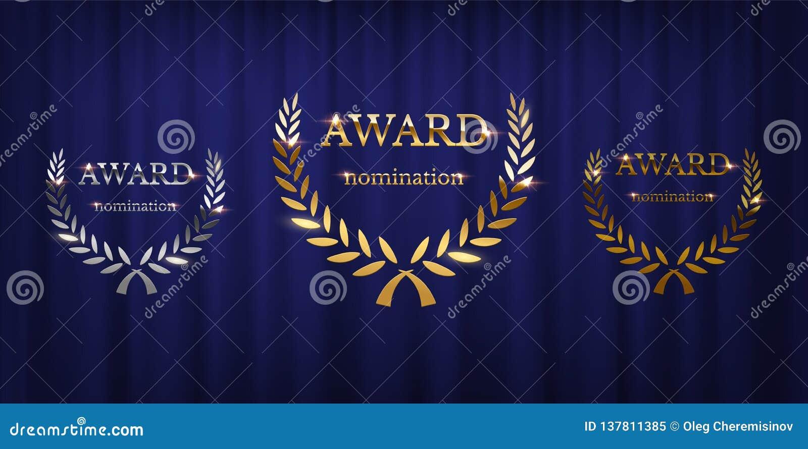 De tekens van de gouden, zilveren die en bronstoekenning met lauwerkrans op blauwe gordijnachtergrond worden geïsoleerd Vectortoe