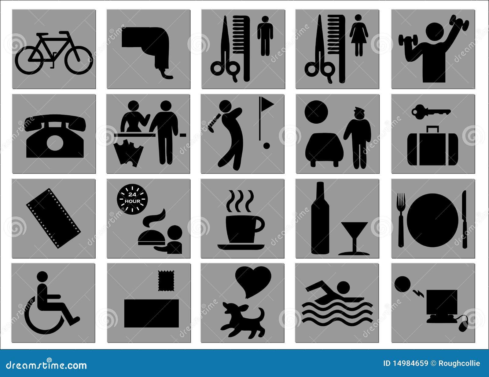 Citaten Vrije Tijd : De tekens van het hotel en vrije tijd symbolen