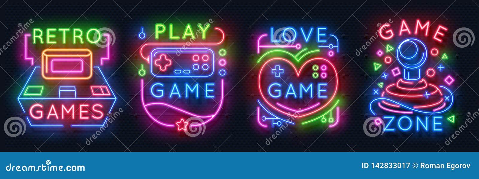 De tekens van het neonspel Retro videospelletjesstreek, de gloeiende emblemen van de spelerruimte, nacht lichte etiketten Vector
