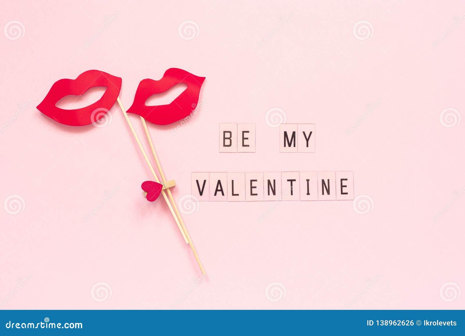 De Tekst Is Mijn Valentine En Paardocument Lippensteunen