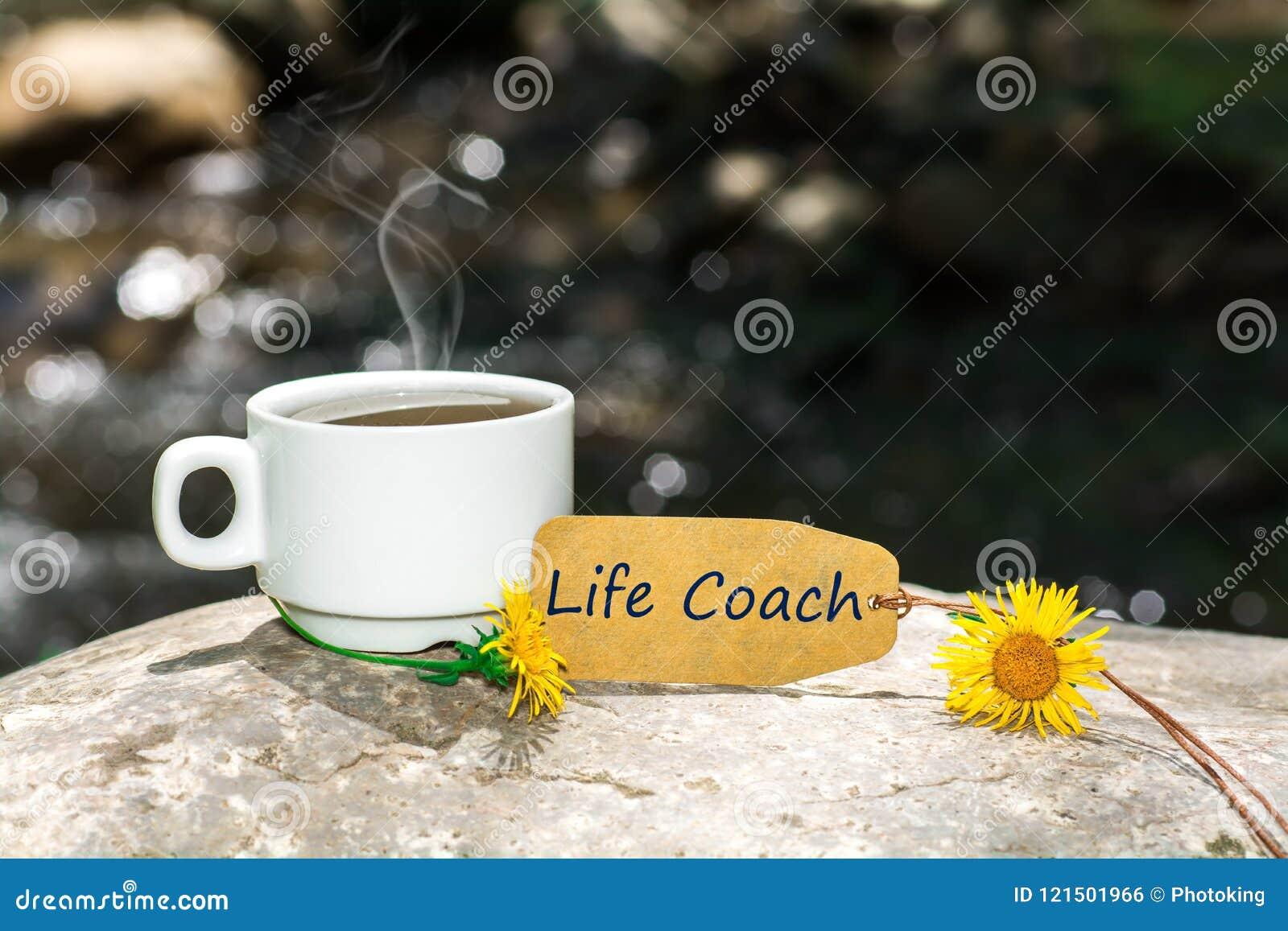 De tekst van de het levensbus met koffiekop