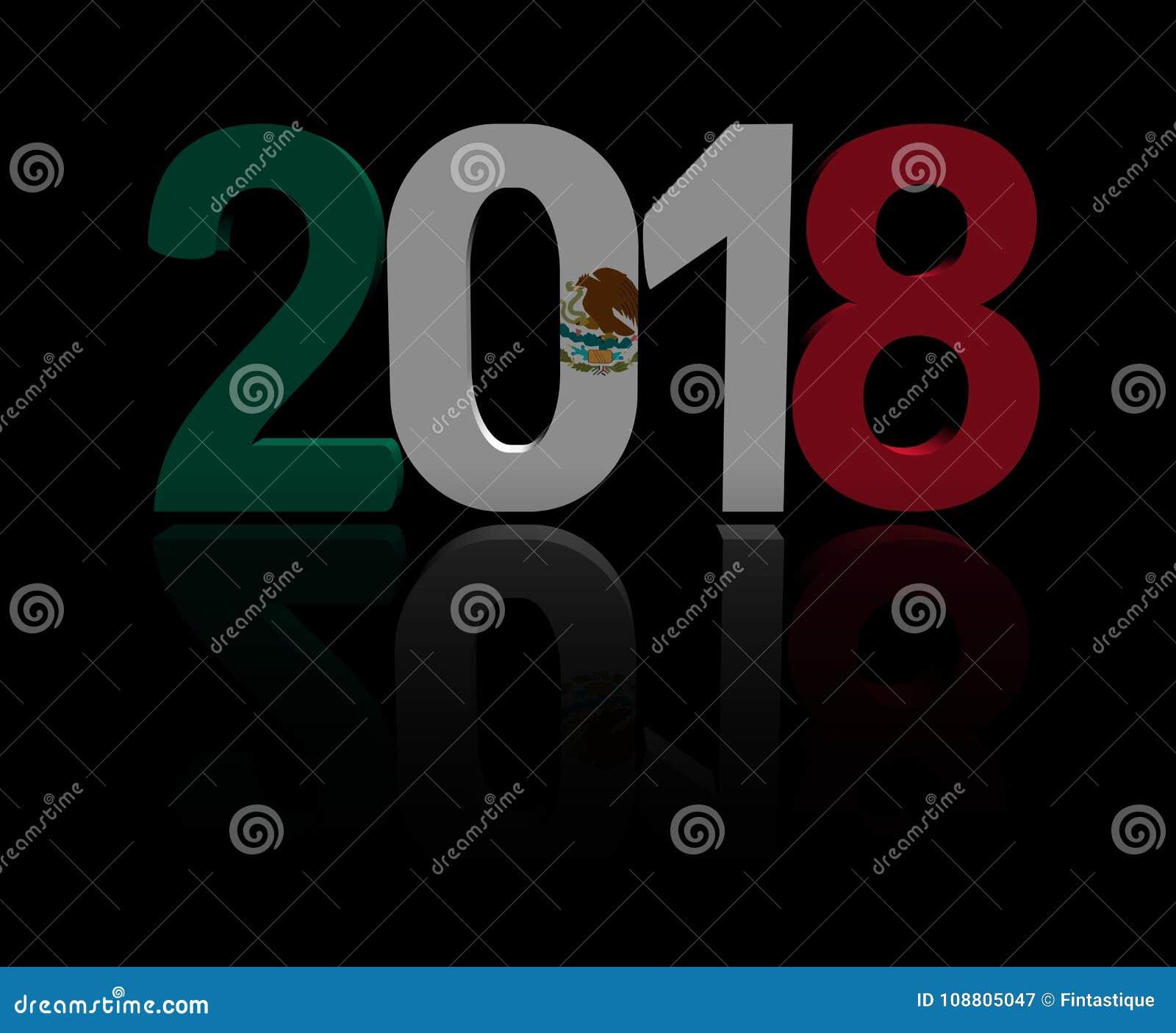De tekst van 2018 met Mexicaanse vlag 3d illustratie