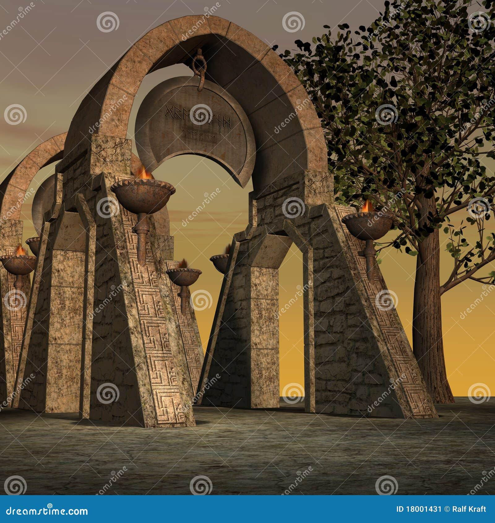 De tempel van de fantasie bij dageraad