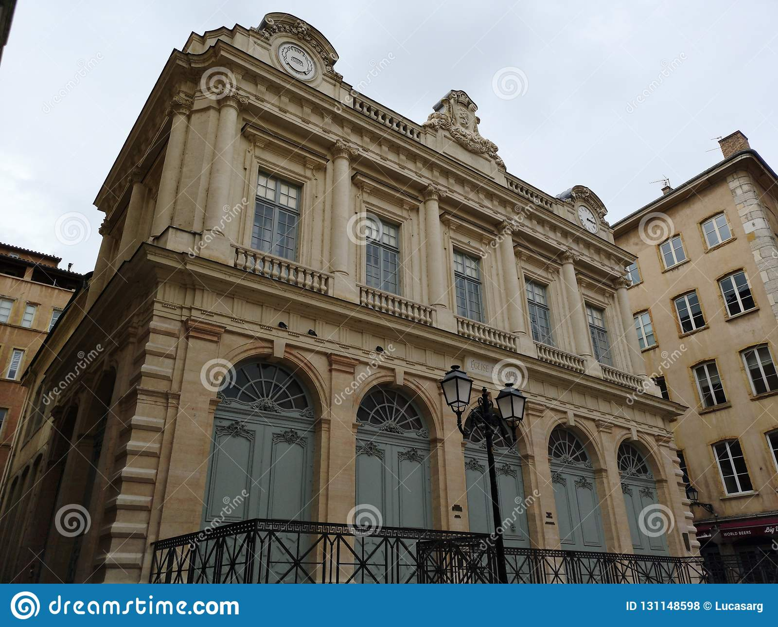De Tempel van Verandering, vroeger voor de beurs van Lyon wordt gebruikt, bevindt zich in Oud Lyon, Frankrijk dat