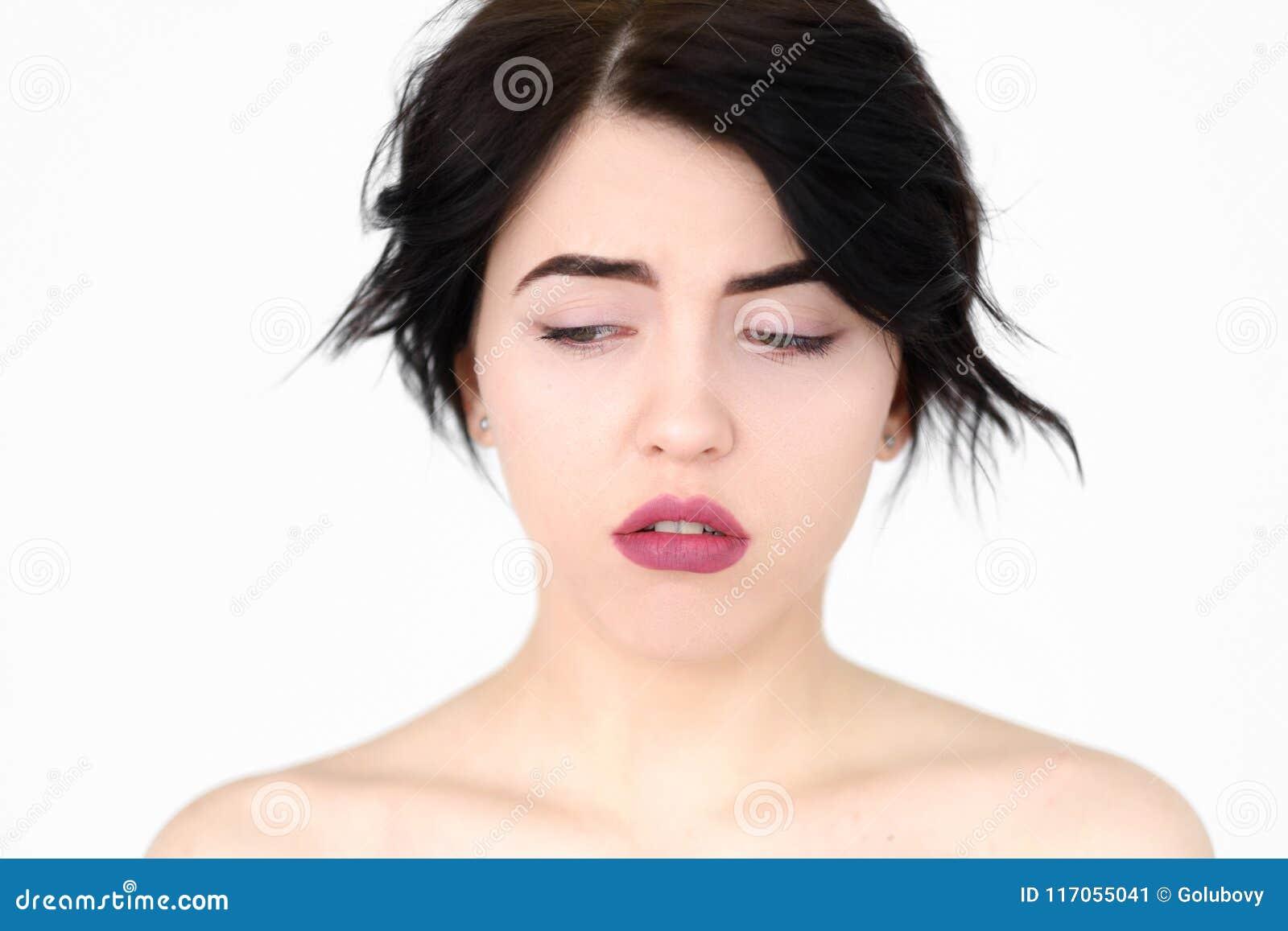 De teneergeslagen gefrustreerde droevige vrouw van het emotiegezicht