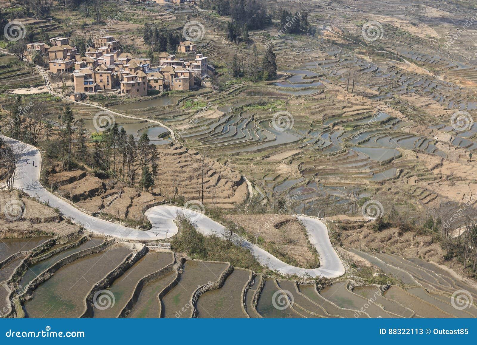 De terrassen van de YuanYangrijst in Yunnan, China, één van de recentste Unesco-Plaatsen van de Werelderfenis
