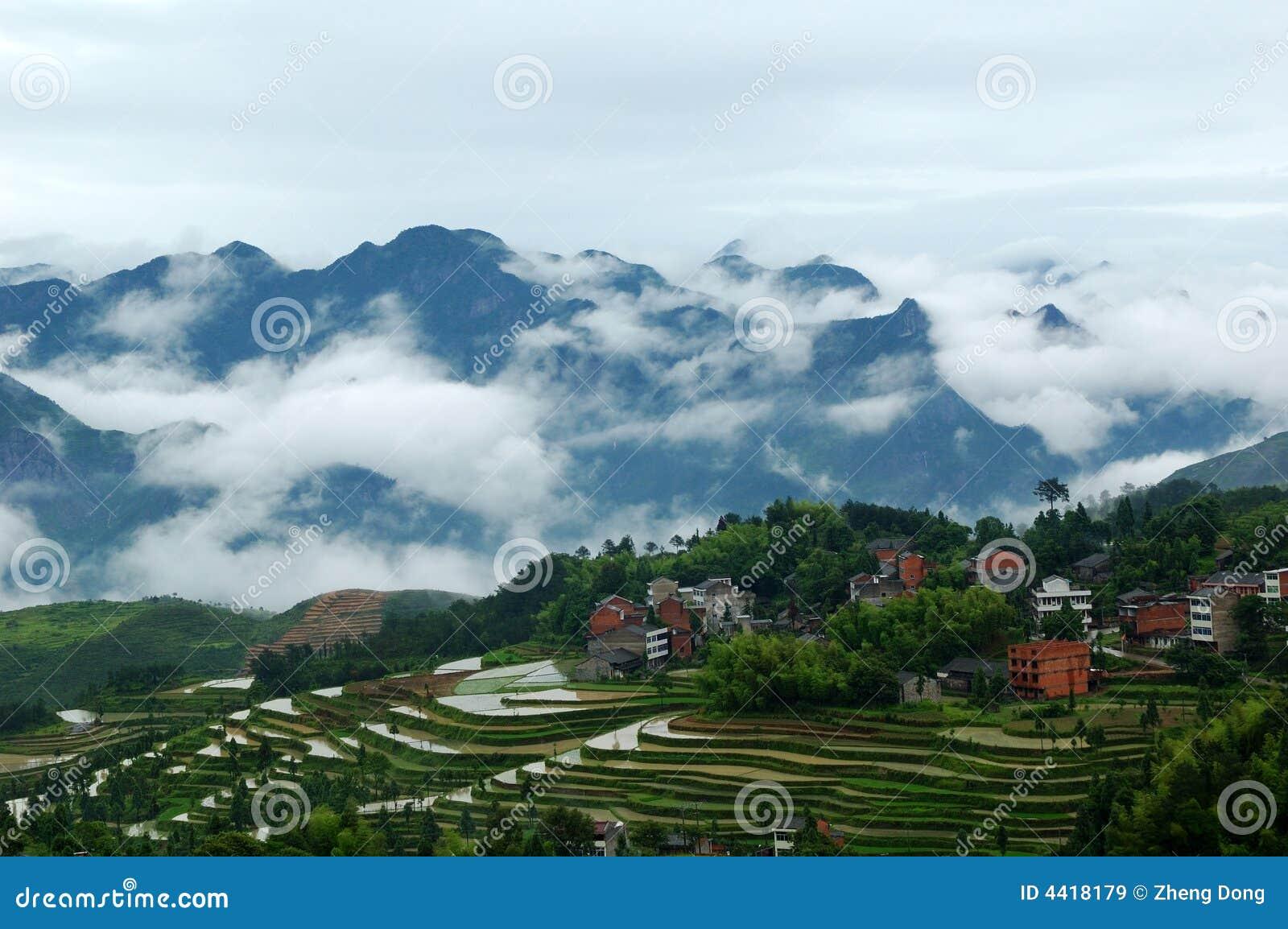 De terrasvormige gebieden van Mingao