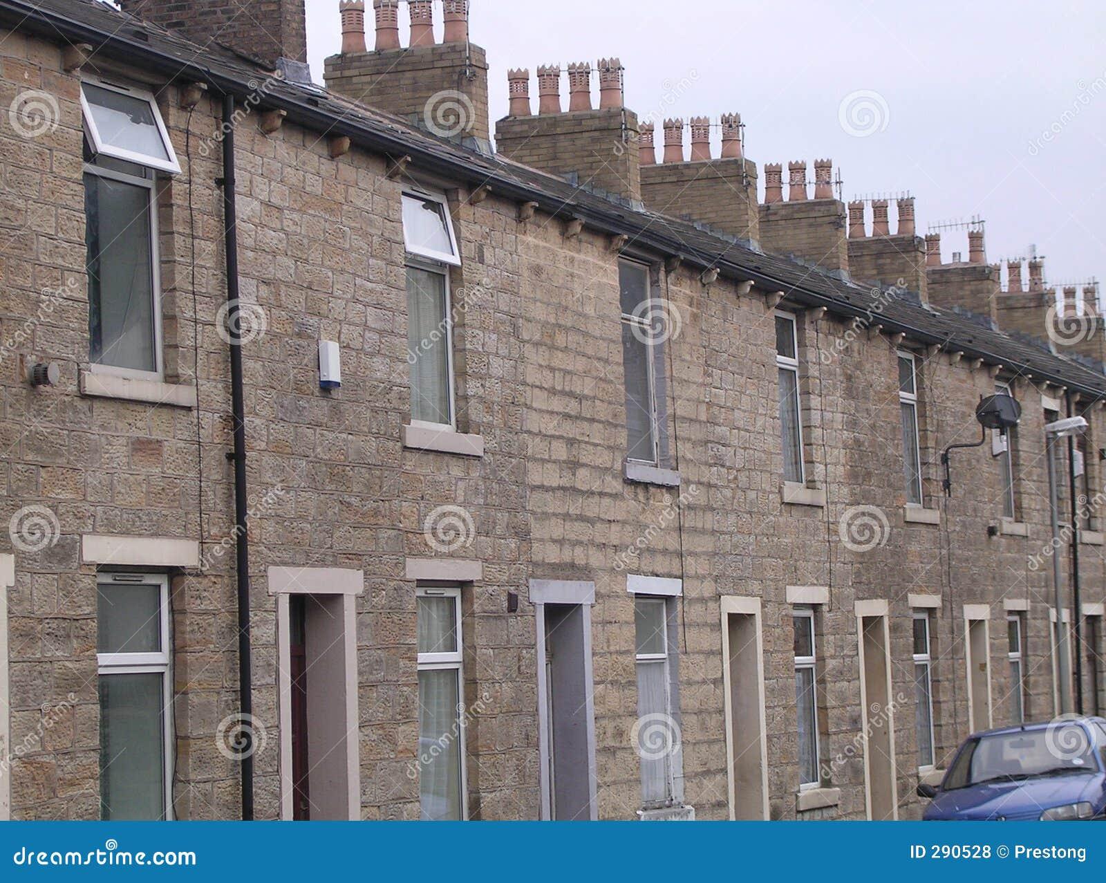 De Terrasvormige Huizen van de steen, Accrington, het UK.