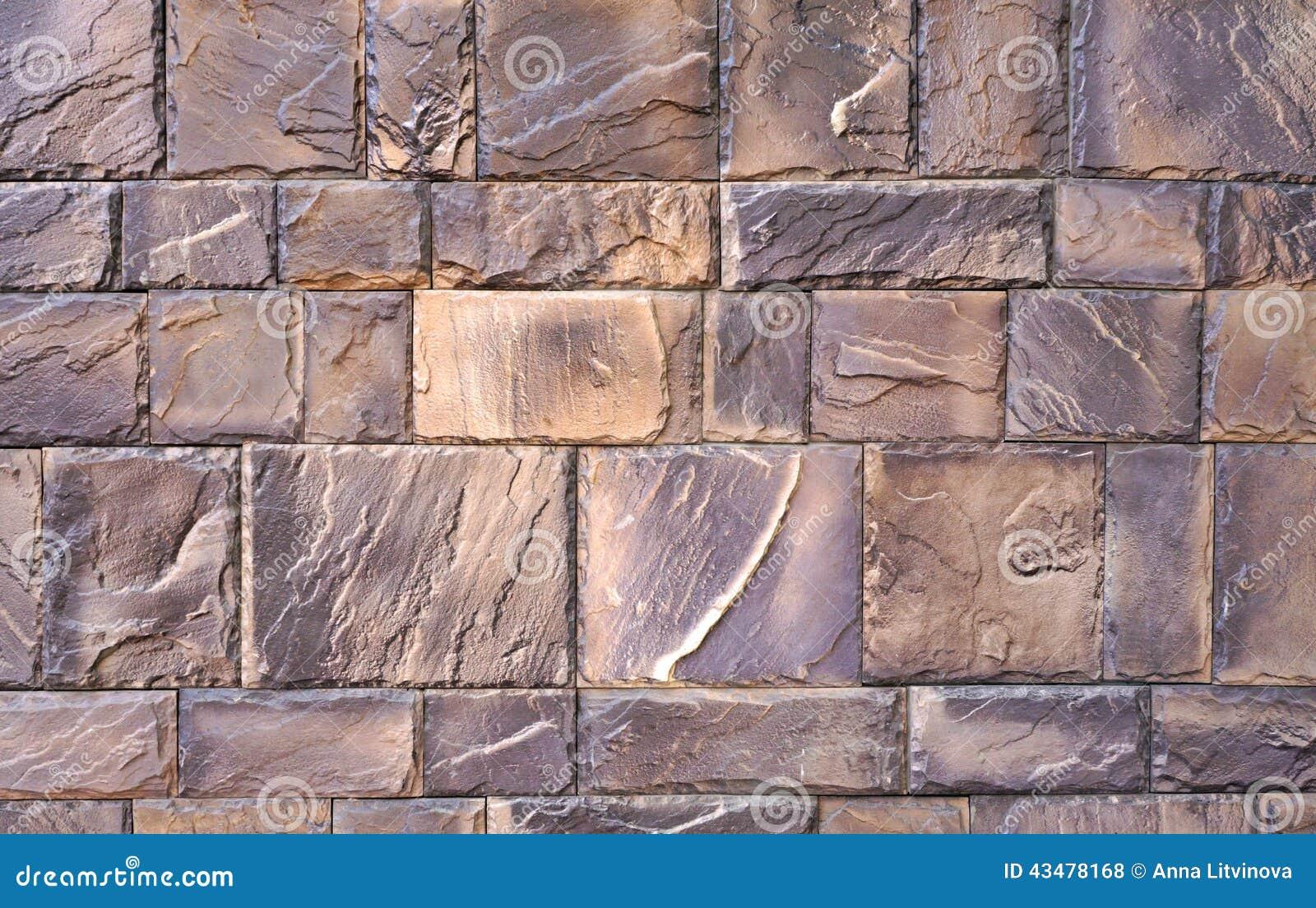 De Textuur Van De Muur Van Het Grote Grijs-bruin Poetste Stenen Op ...