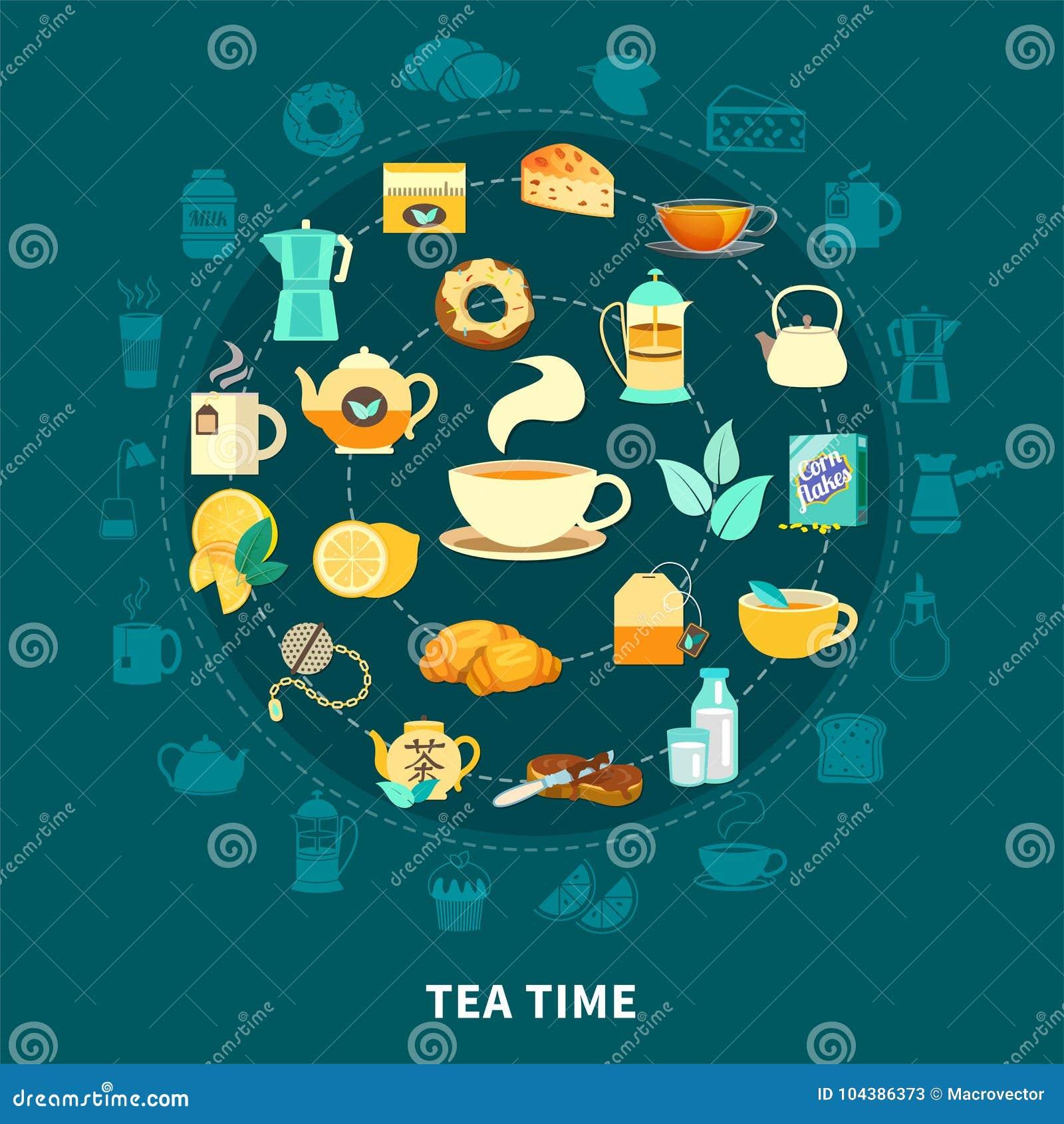 De thé en temps composition en rond