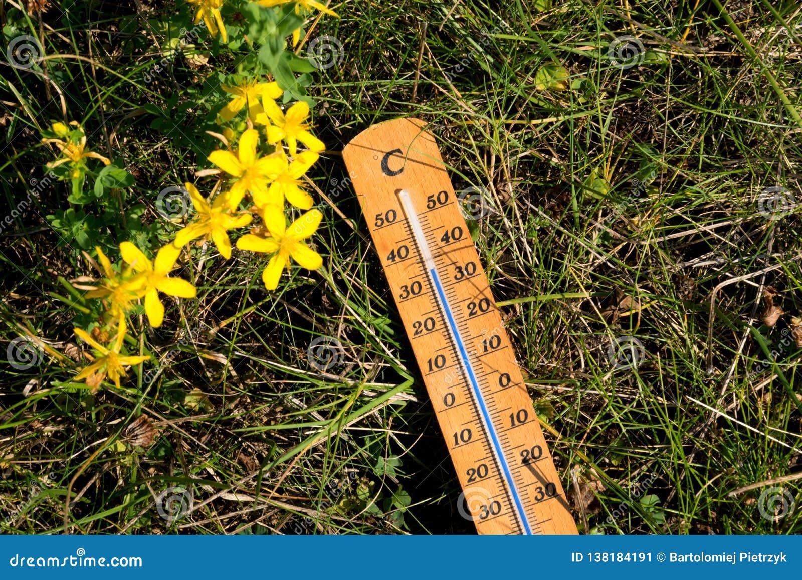 De thermometer toont op hoge temperatuur in de zomer