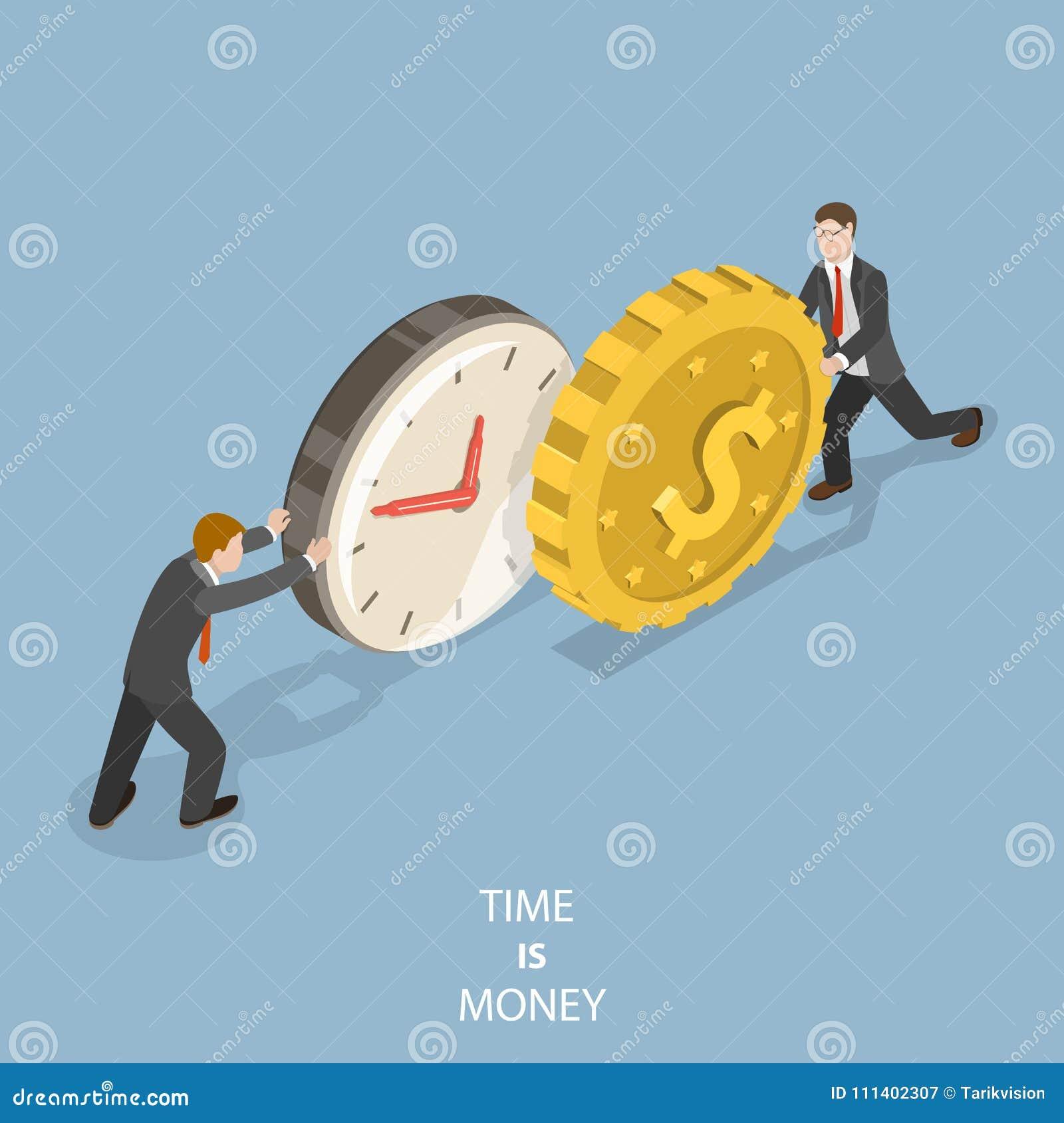 De tijd is geld vlak isometrisch vectorconcept