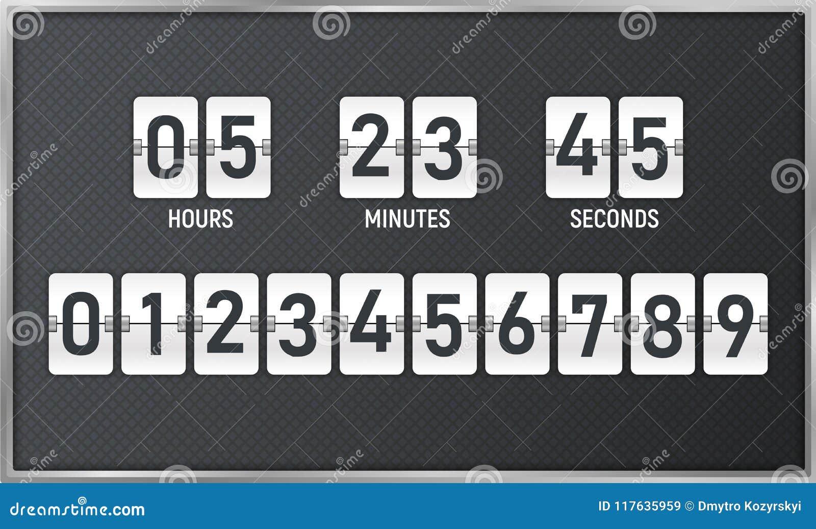 De tijdopnemer van de aftelprocedure Tijd die telling onderaan tikraad met scorebord van dag, uur, notulen en seconden voor zelfs