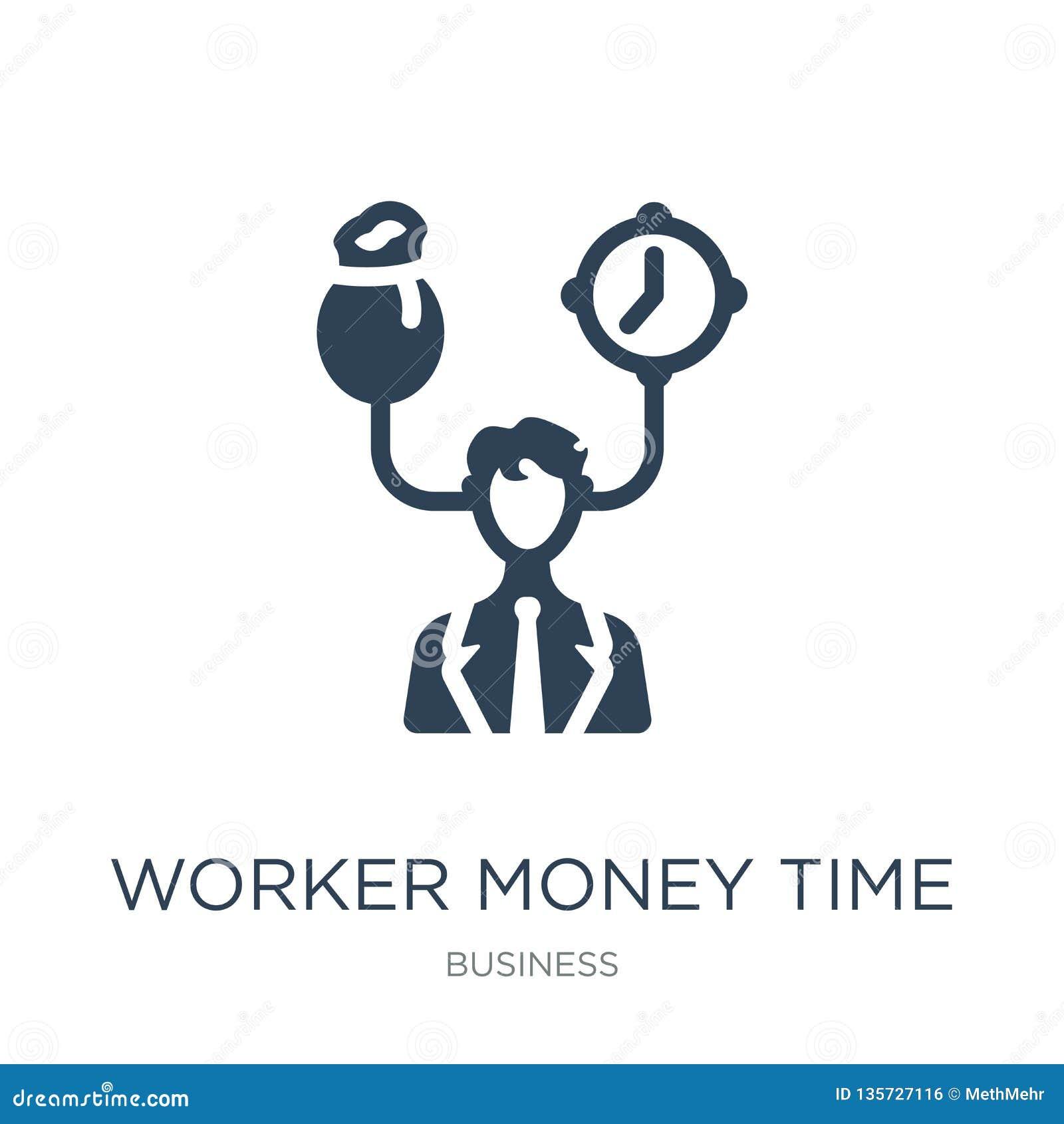 De tijdpictogram van het arbeidersgeld in in ontwerpstijl de tijdpictogram van het arbeidersgeld op witte achtergrond wordt geïso