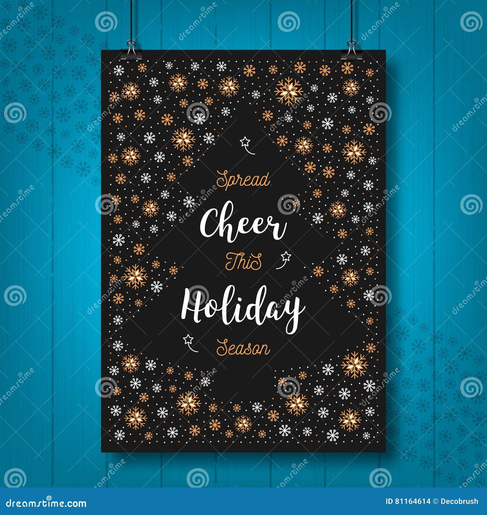 De Toejuichingkaart van de Kerstmisvakantie, Kerstmisaffiche, Begroetende prentbriefkaar, uitnodiging, vlieger