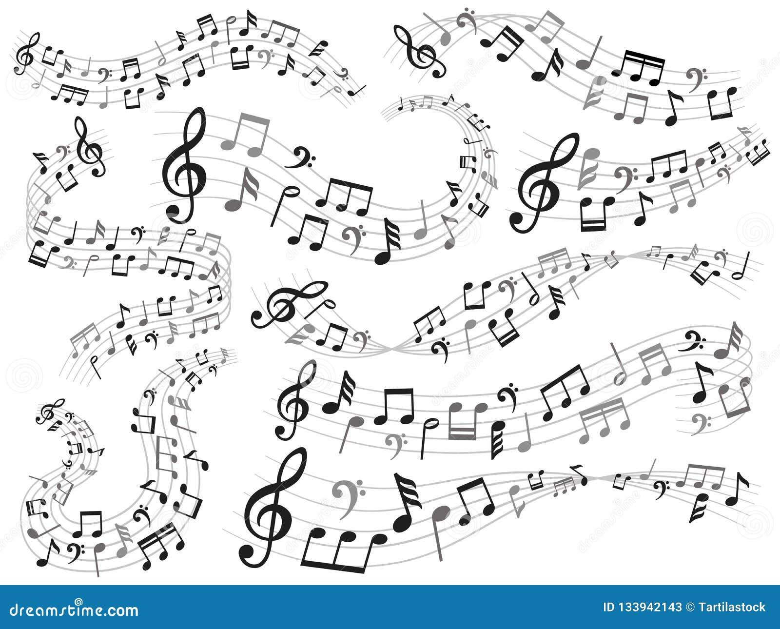 De toelage voor spel op muzikale instrumenten De werveling van de muzieknota, melodiepatroon en correcte golven met reeks van de