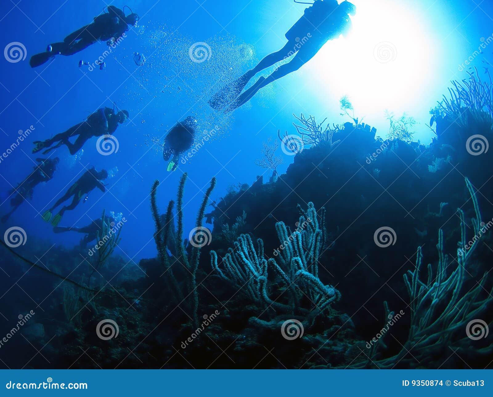 De toeristengroep van de scuba-uitrusting