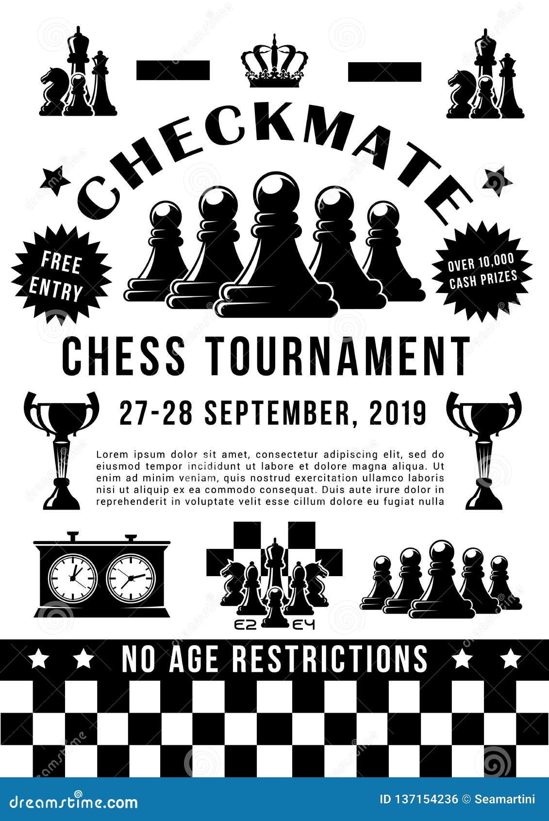 De toernooien van de schaaksport, spelstukken en tijdopnemer