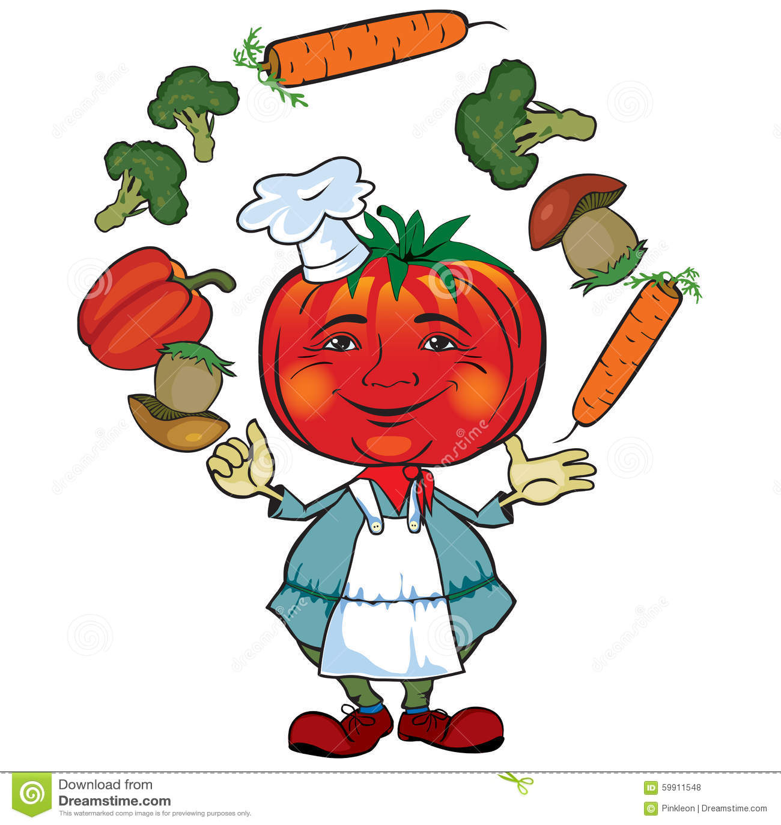 De tomatenchef-kok jongleert met groenten