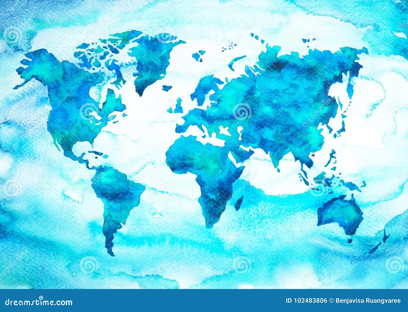 De toonwaterverf van de wereldkaart het blauwgroene schilderen op document handtekening